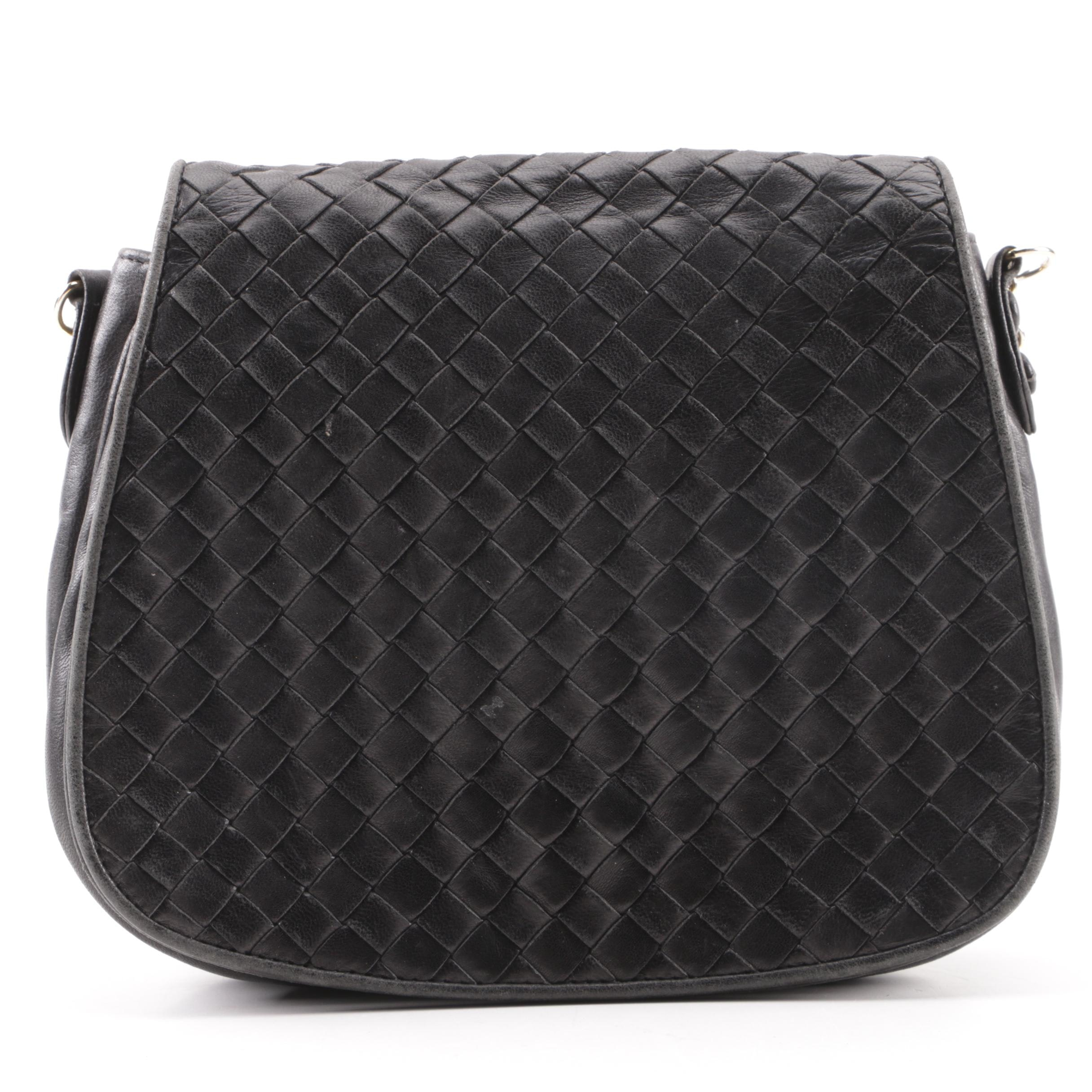 Bottega Veneta Black Intrecciato Leather Saddle Bag