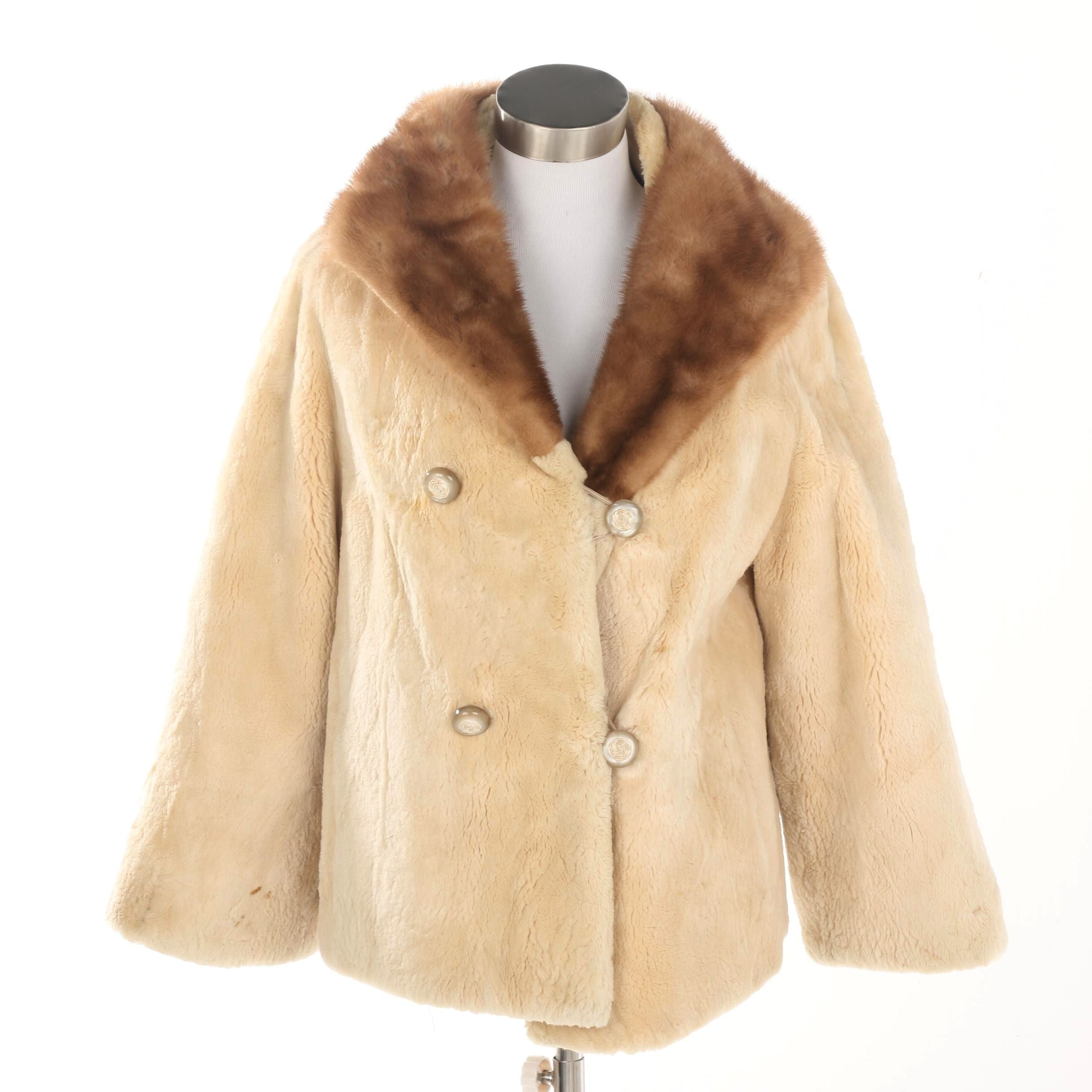 Vintage Titche's Plucked and Sheared Beaver Fur Coat with Mink Fur Collar