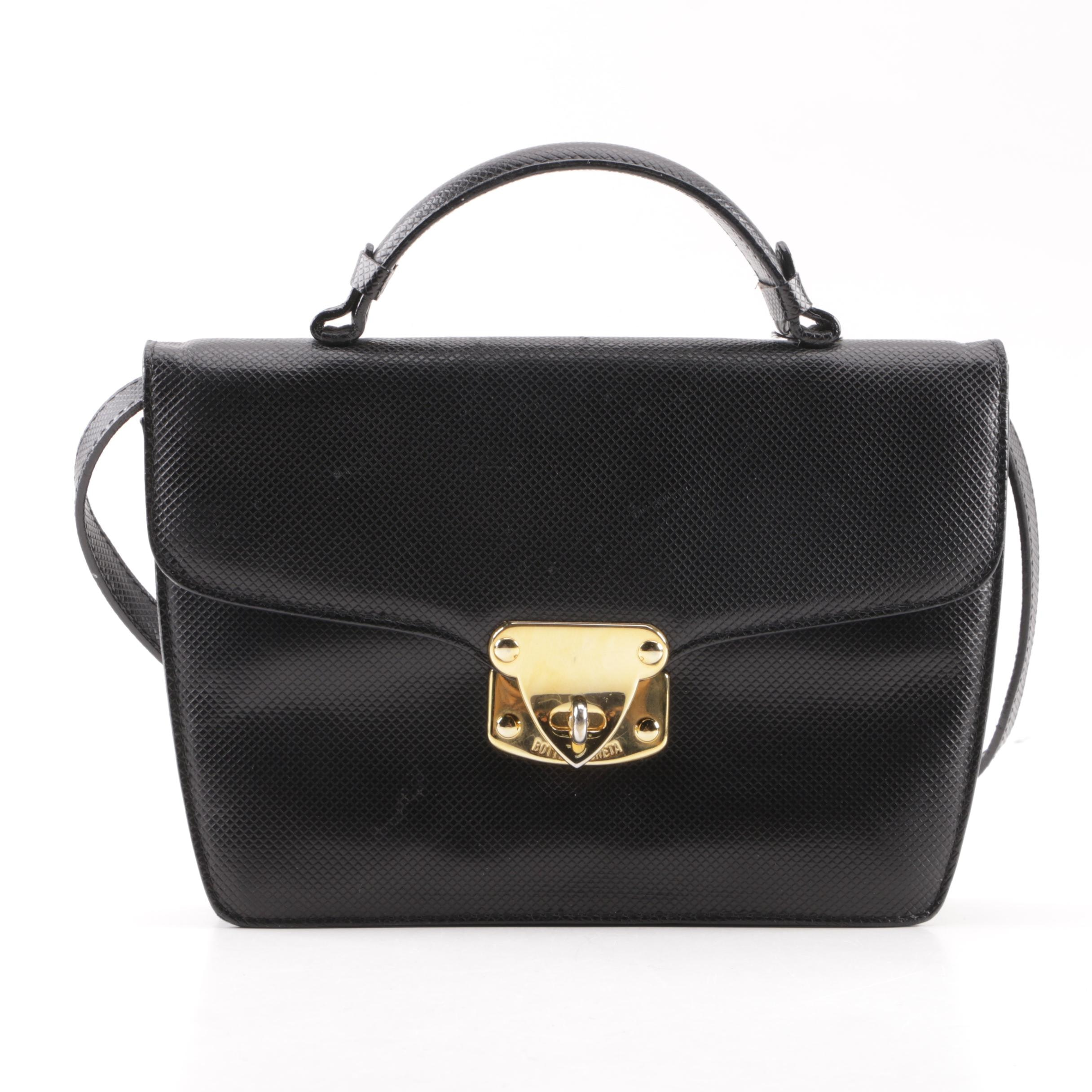 Bottega Veneta Embossed Black Leather Handbag