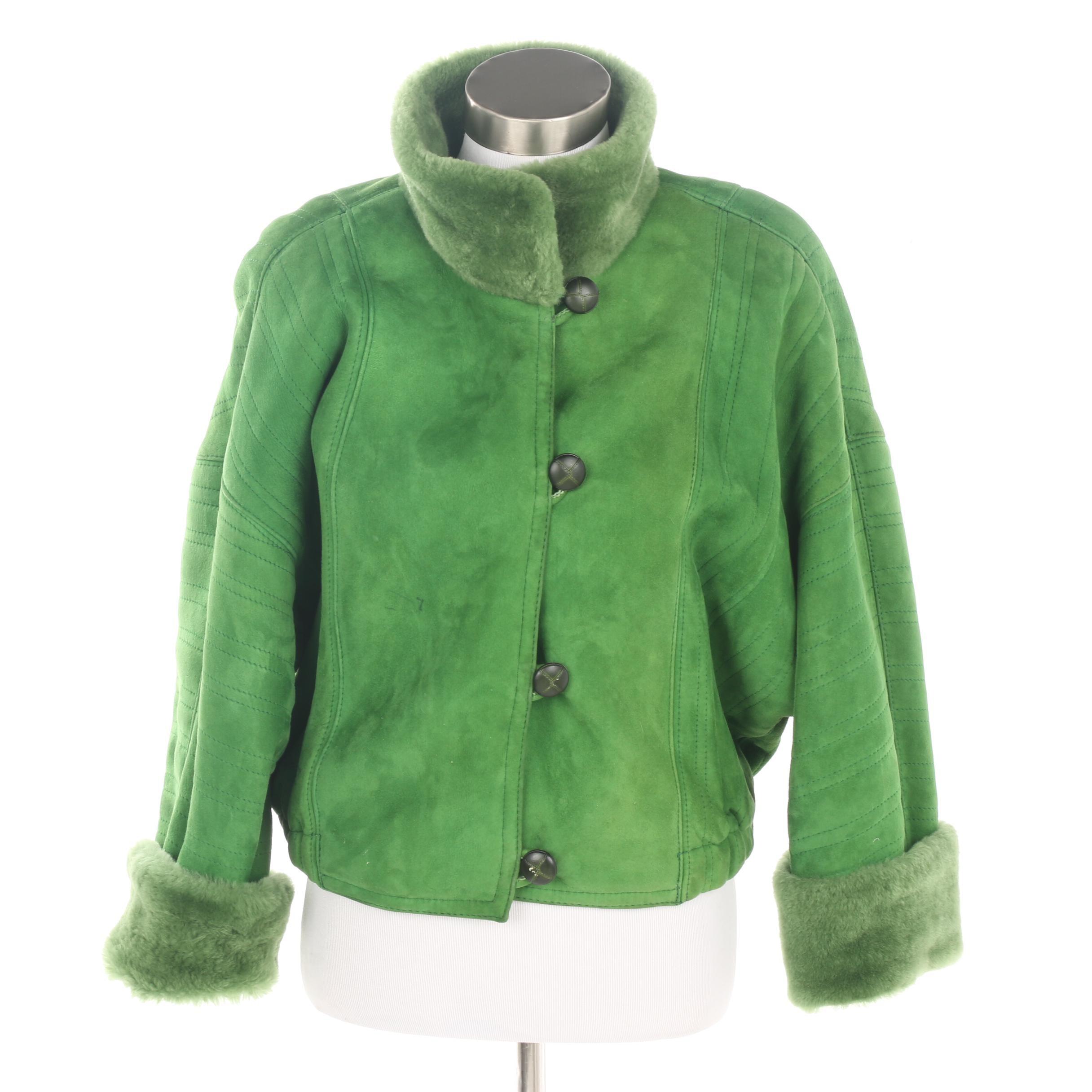 Women's Vintage Oscar de la Renta Green Suede and Shearling Coat