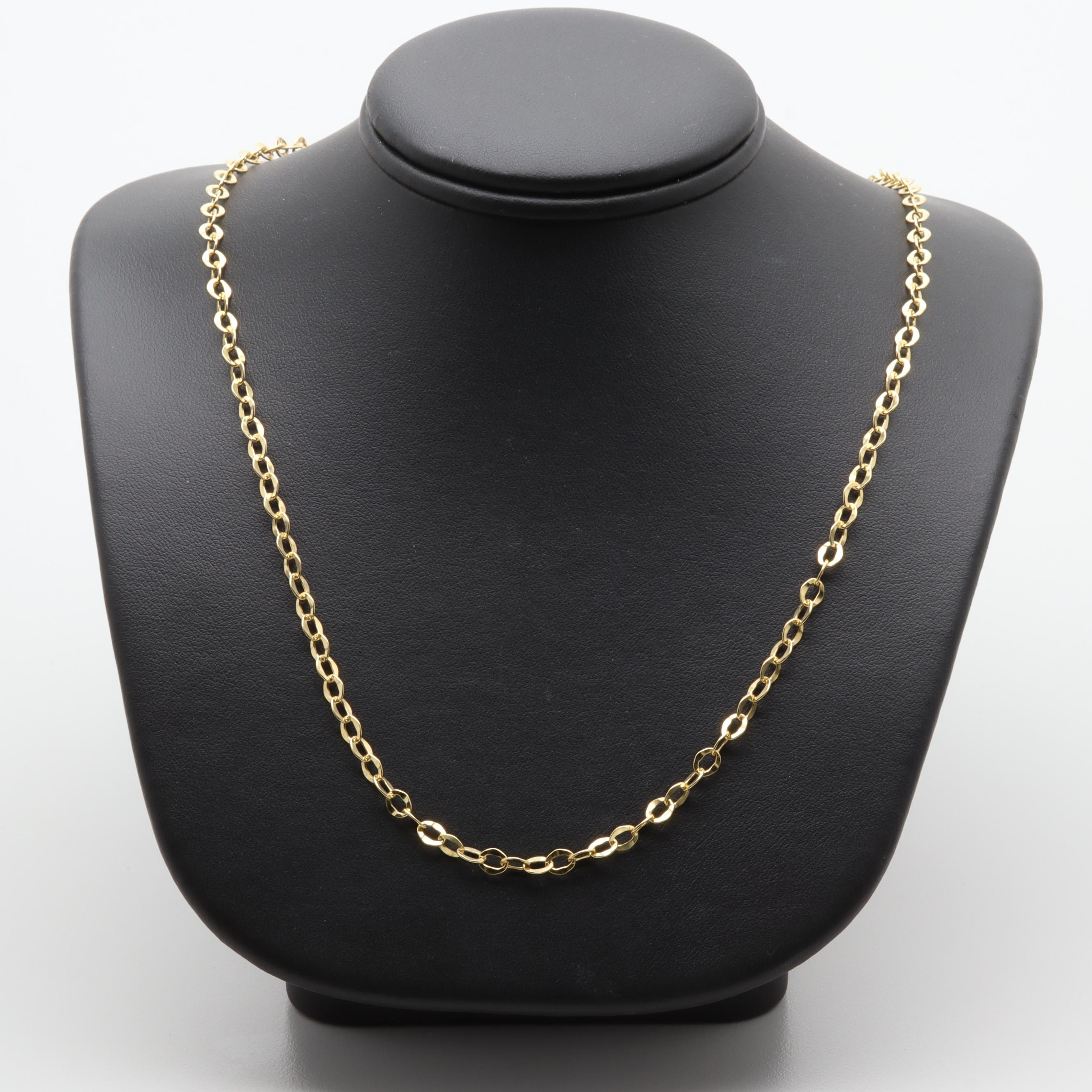 Italian 14K Yellow Gold Chain Link Necklace