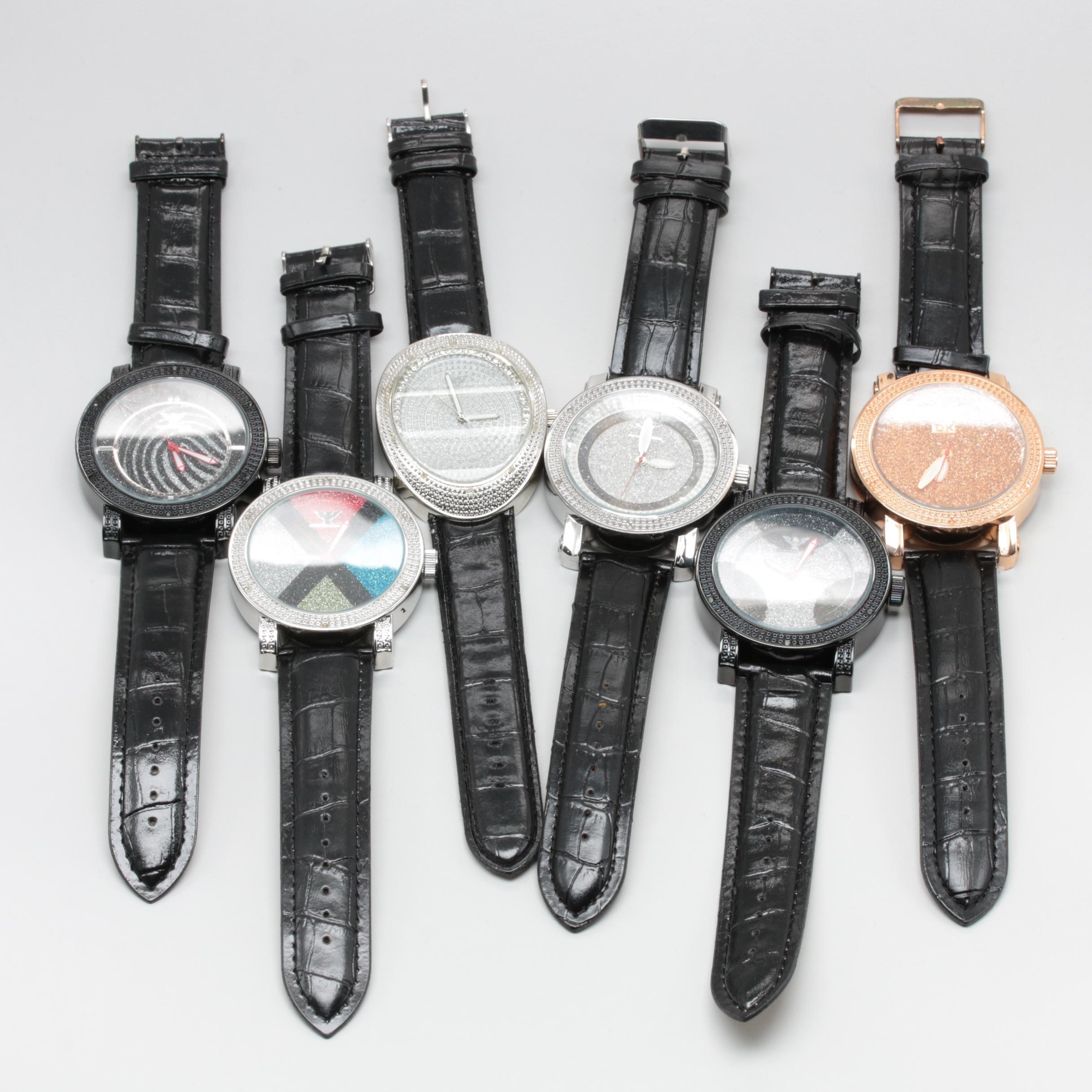 Assortment of Diamond King Silver Tone and Gold Tone Diamond Wristwatches