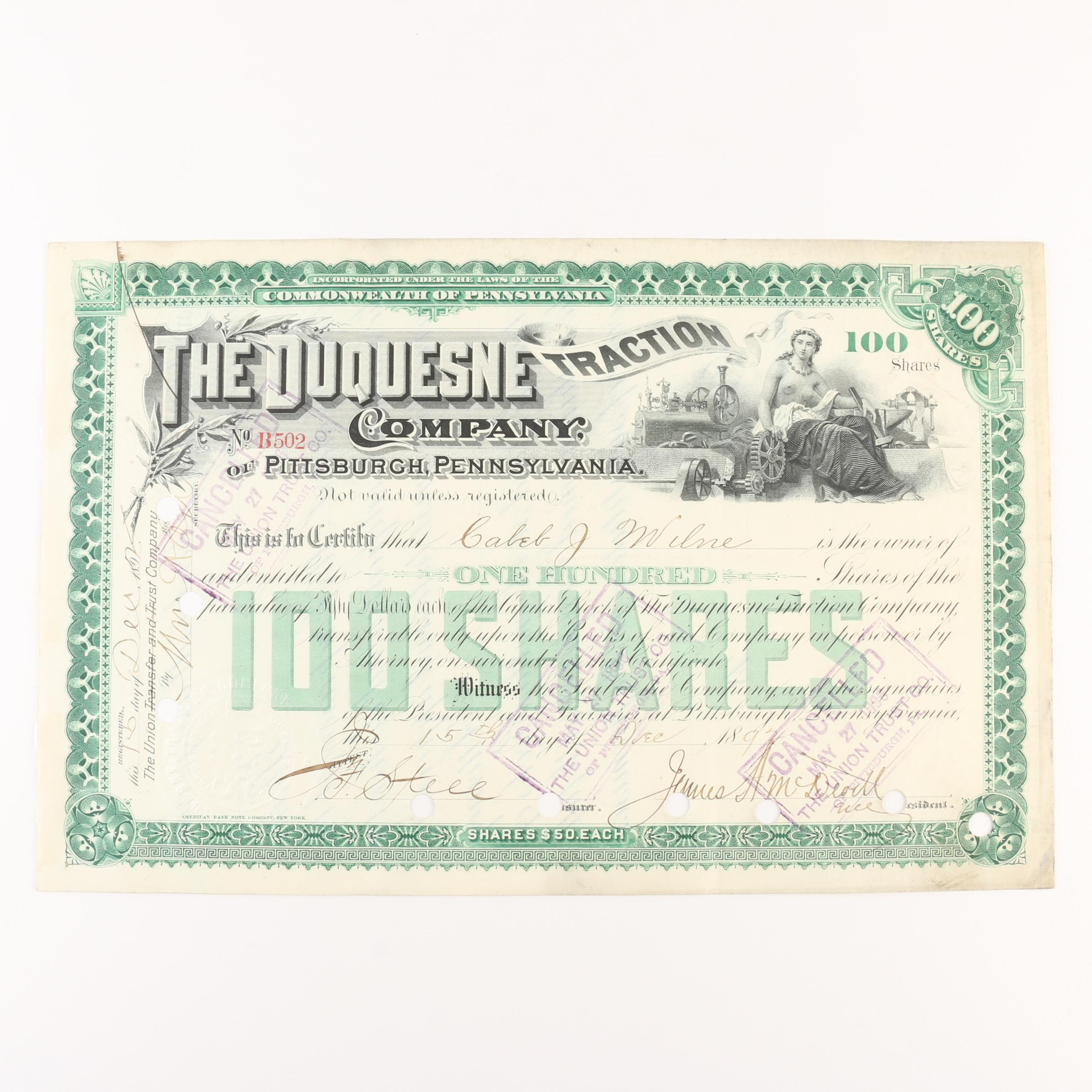 1892 Duquesne Traction Company Stock Certificate