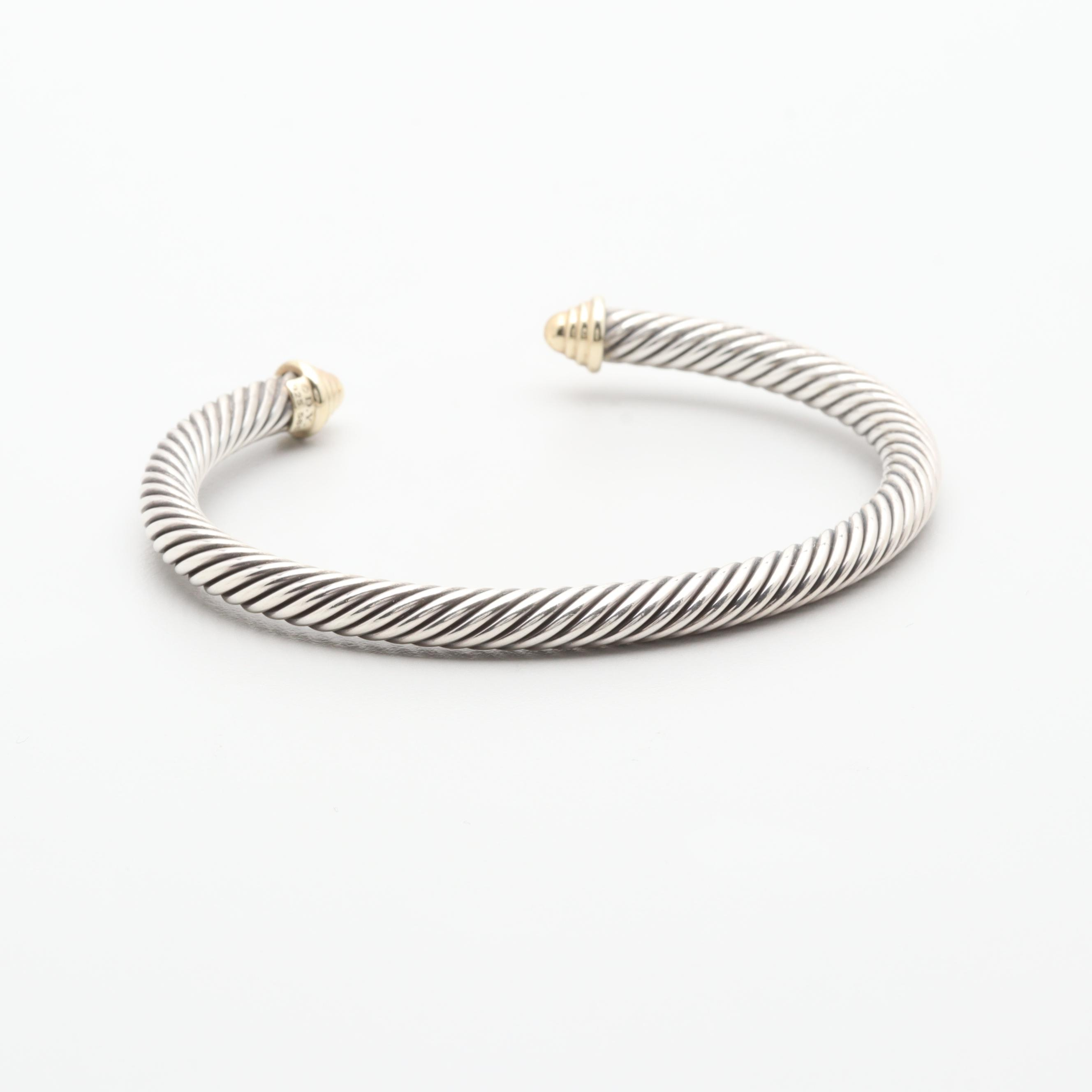 David Yurman Sterling Silver Cable Cuff Bracelet With 14K Yellow Gold Accents