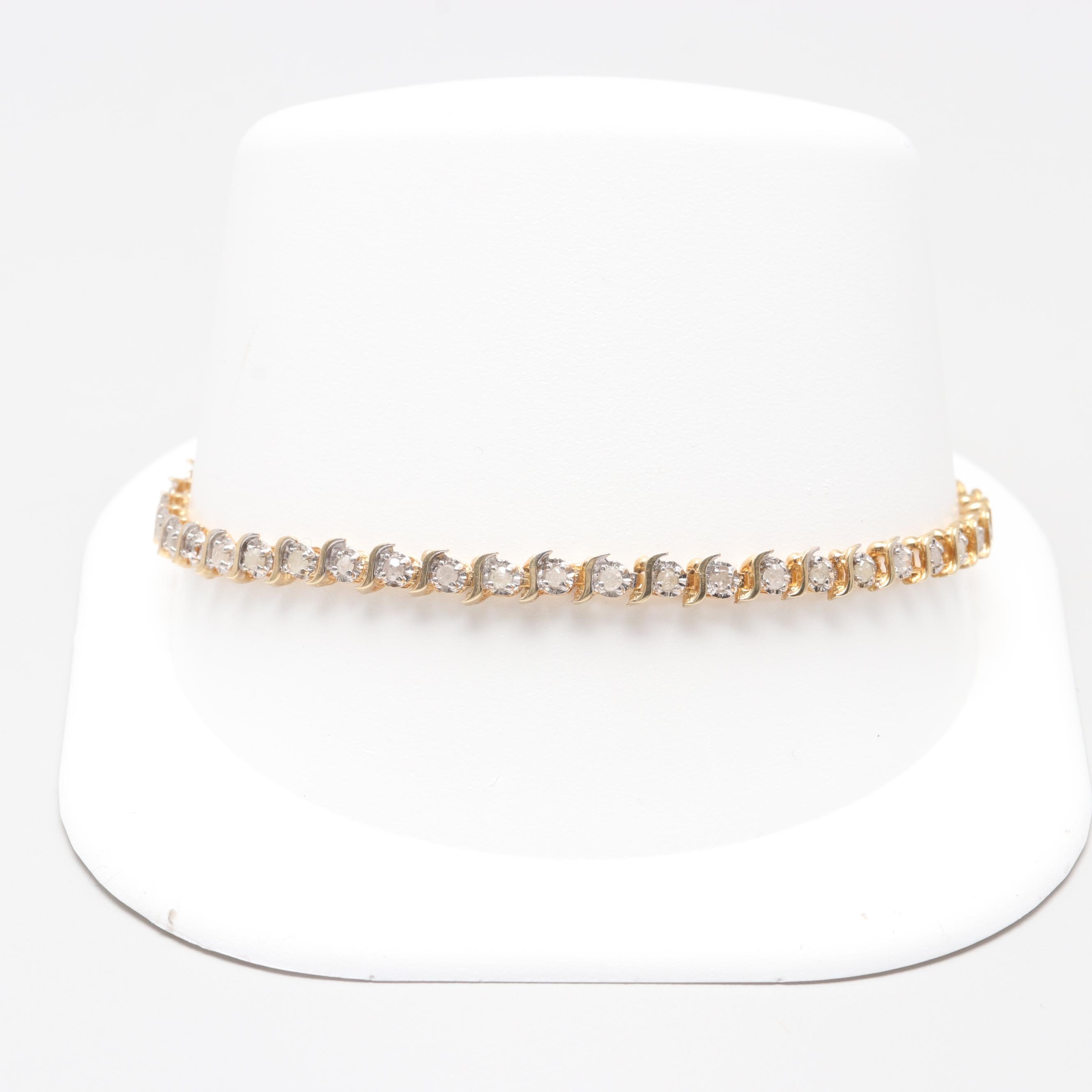 10K Yellow Gold Diamond Link Bracelet