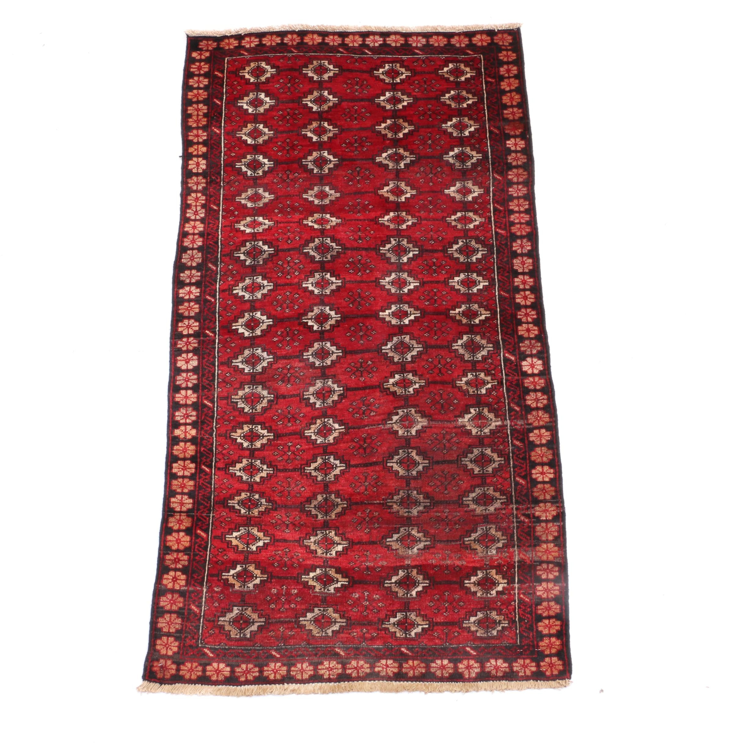 Vintage Hand-Knotted Persian Bokhara Wool Long Rug