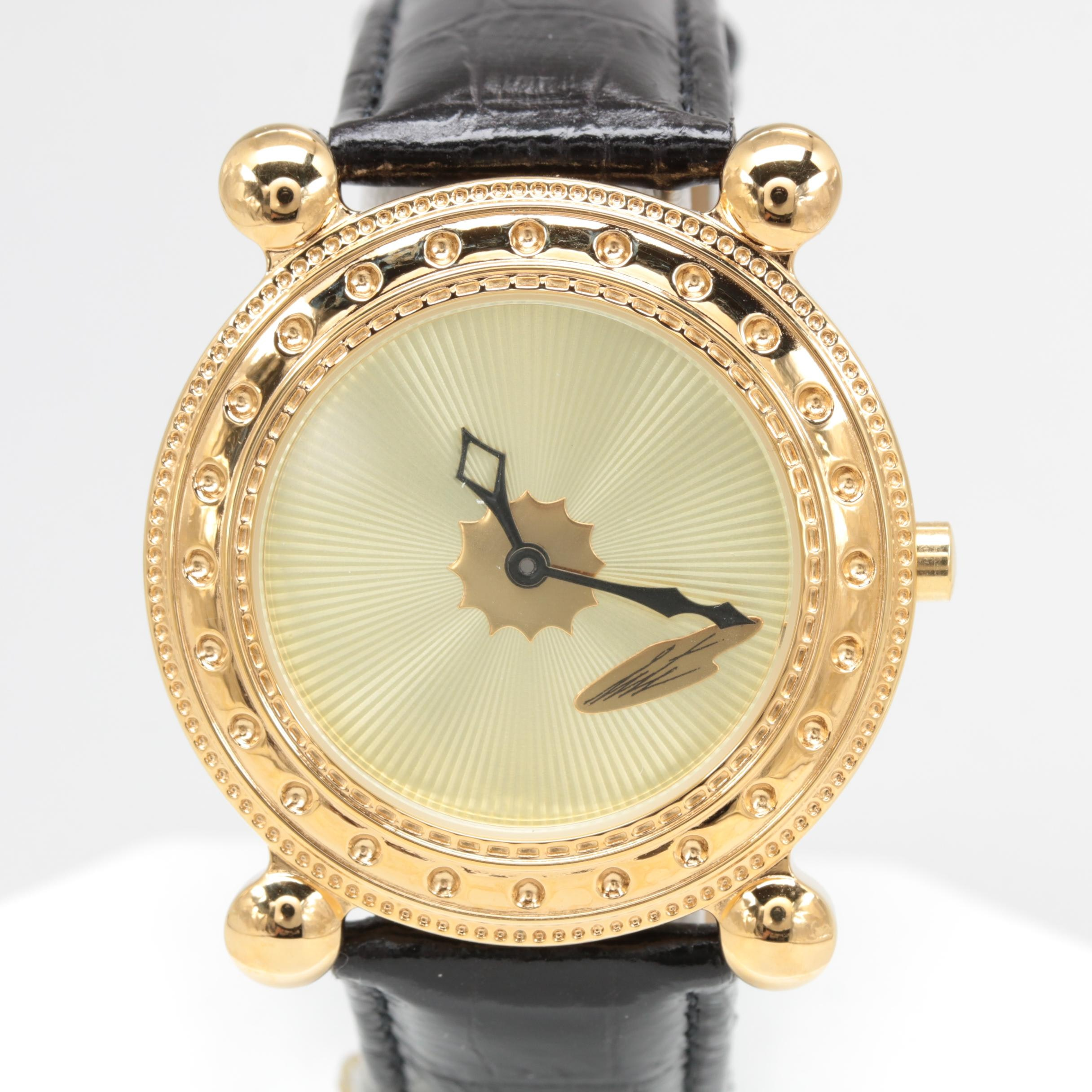 """Sevenarts Ltd. """"Erté"""" Gold Plated Stainless Steel Wristwatch with Leather Strap"""