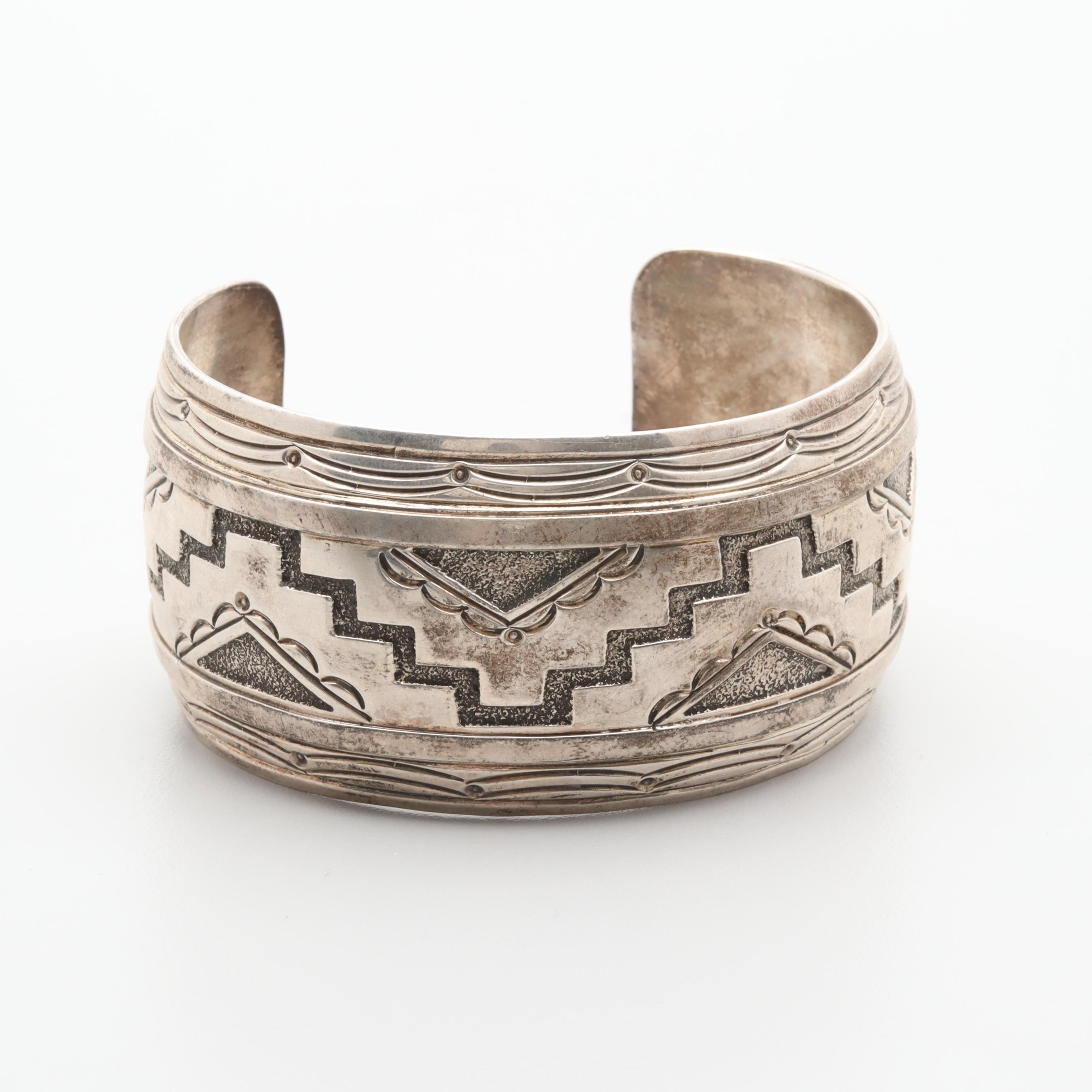 R. Wylie Navajo Diné Sterling Silver Cuff Bracelet