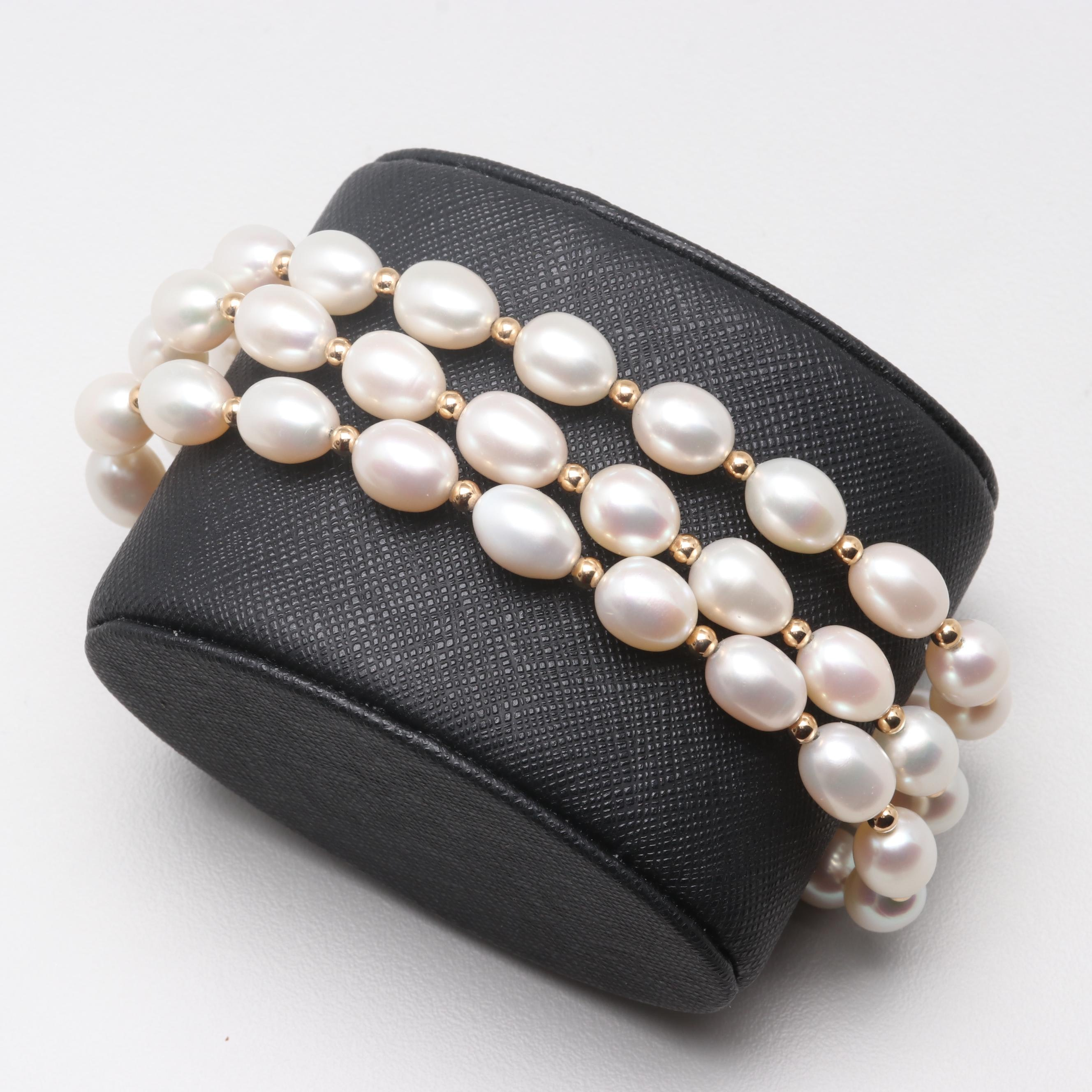 14K Yellow Gold Cultured Pearl Triple Strand Bracelet