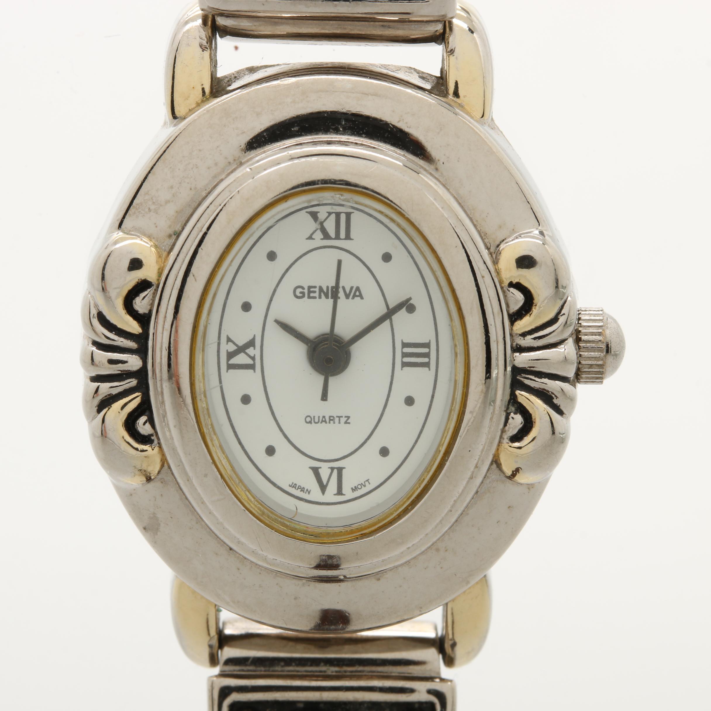 Geneva Quartz Silver Tone Wristwatch