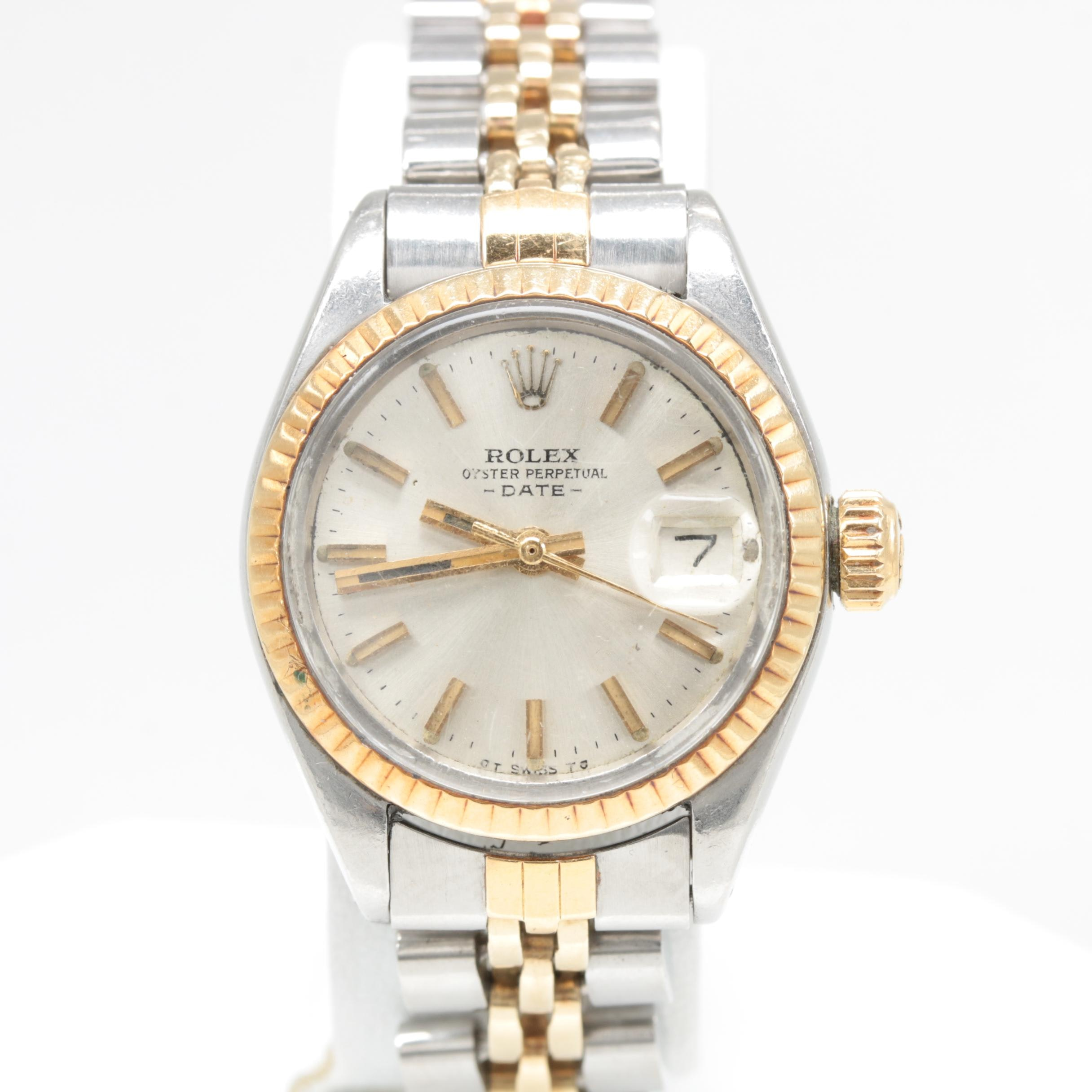 Circa 1973 Rolex Oyster Perpetual Date 14K Yellow Gold Two Tone Wristwatch