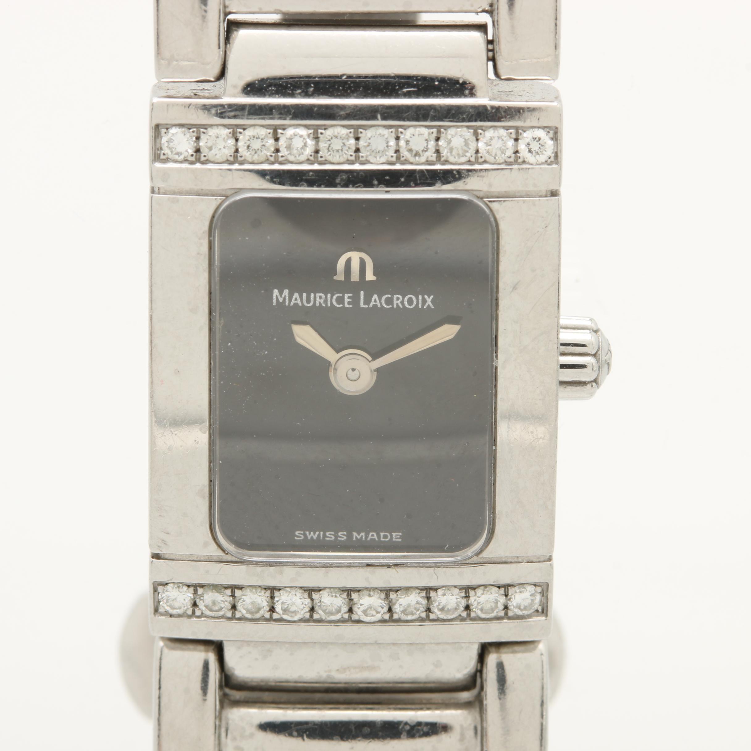 "Maurice Lacroix ""Miros"" Stainless Steel Diamond Wristwatch"