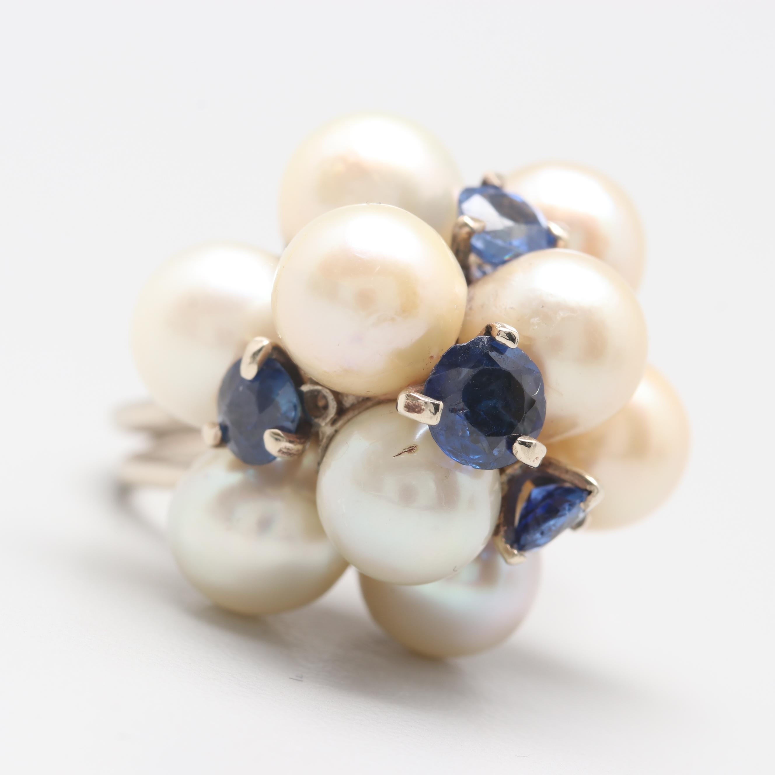14K White Gold Cultured Pearl and Blue Sapphire Ring