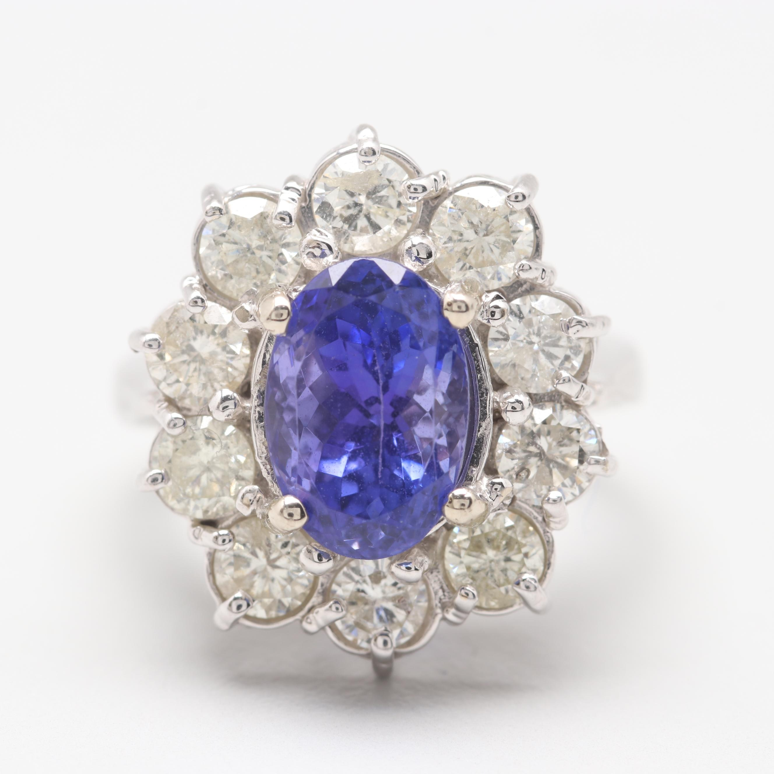 14K White Gold 2.97 CT Tanzanite and 1.56 CTW Diamond Ring