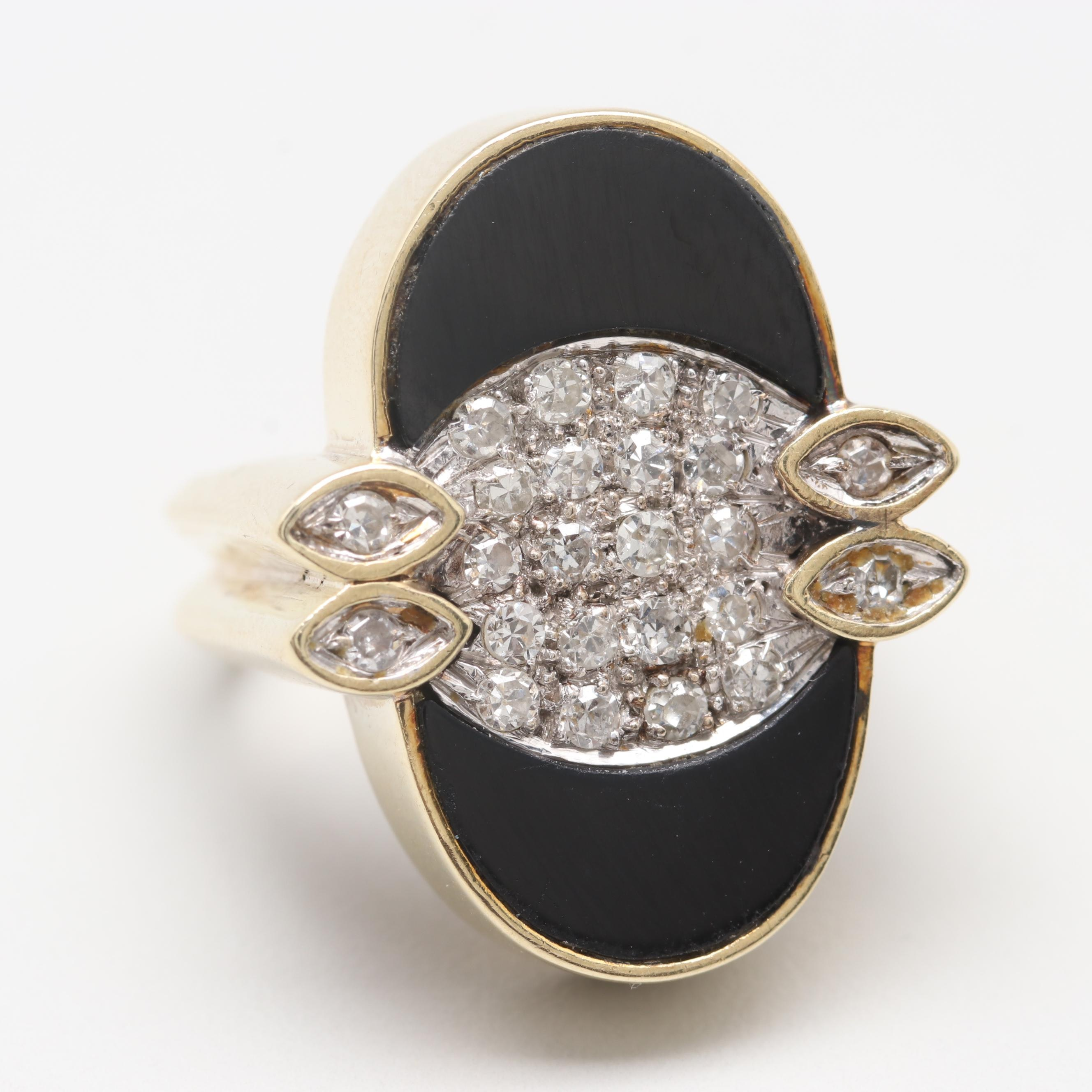 14K Yellow Gold Black Onyx and Diamond Ring with White Gold Accents