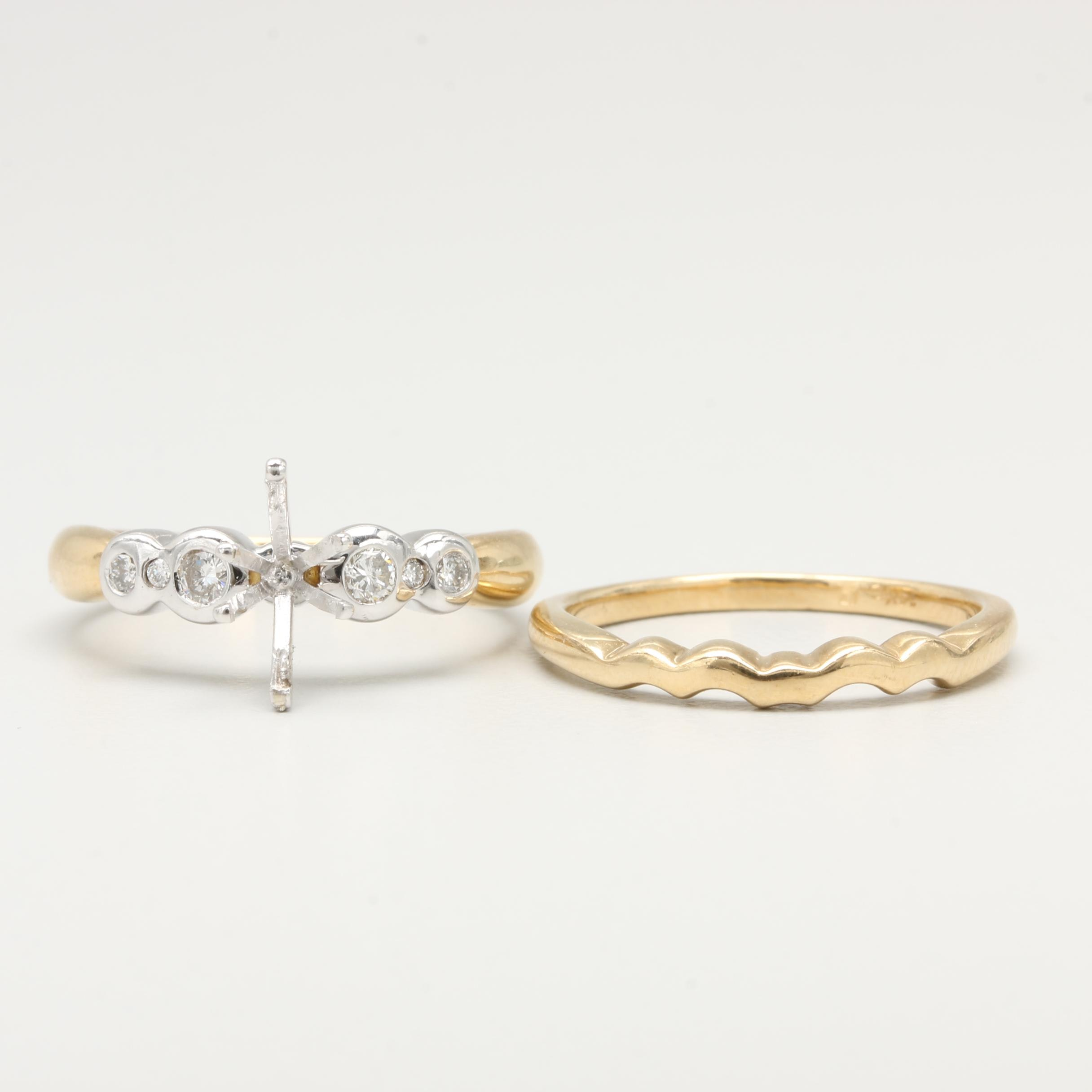 14K Yellow and White Gold Diamond Rings Including Semi-Mount Setting