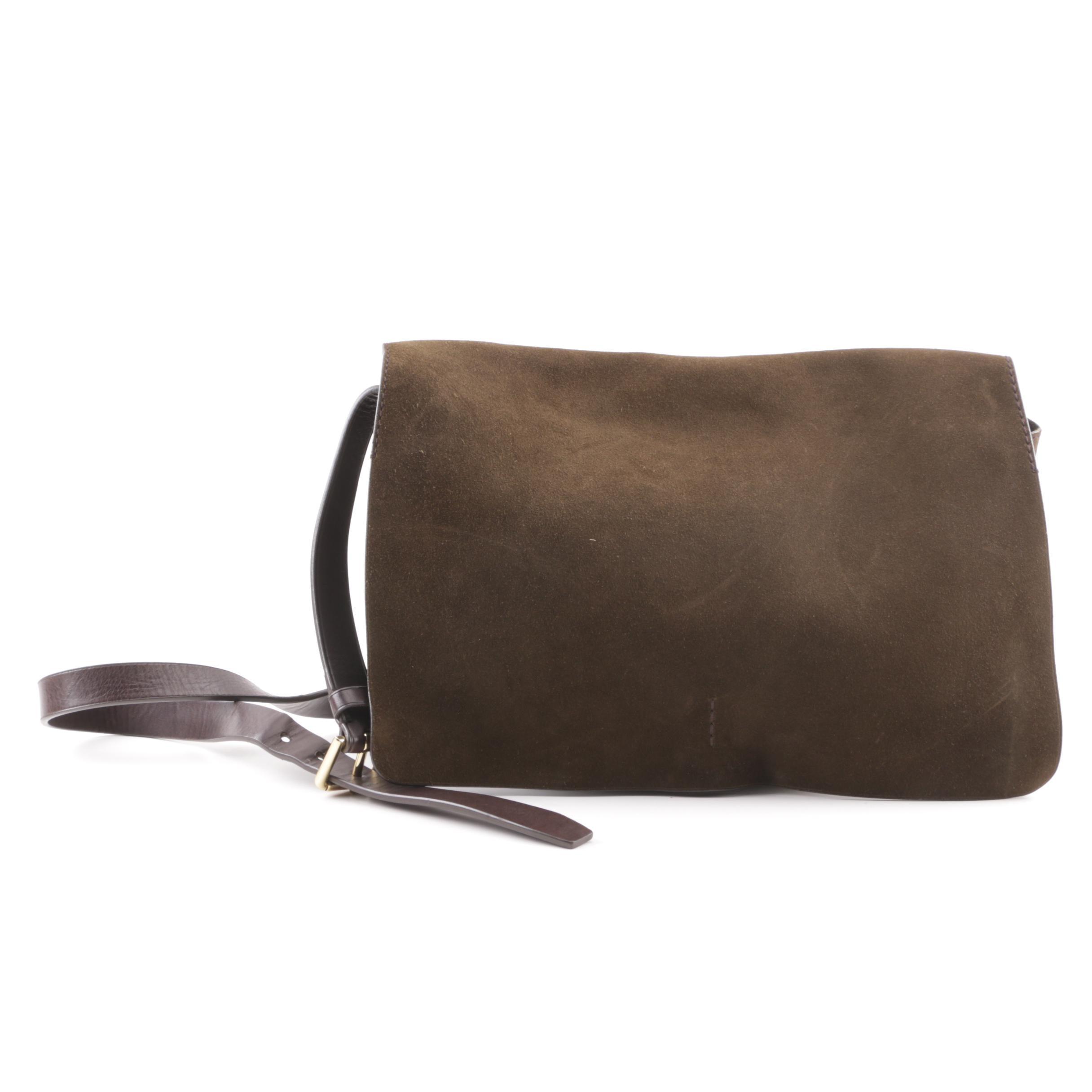 Ralph Lauren Blue Label Olive Green Suede Messenger Bag