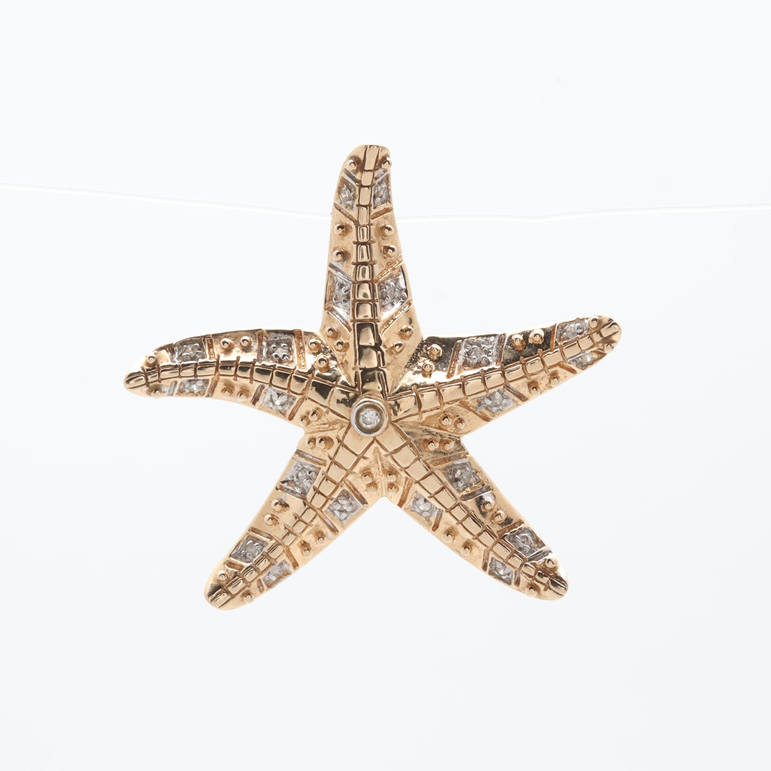 14K Yellow Gold Diamond Starfish Slide Pendant with White Gold Accents