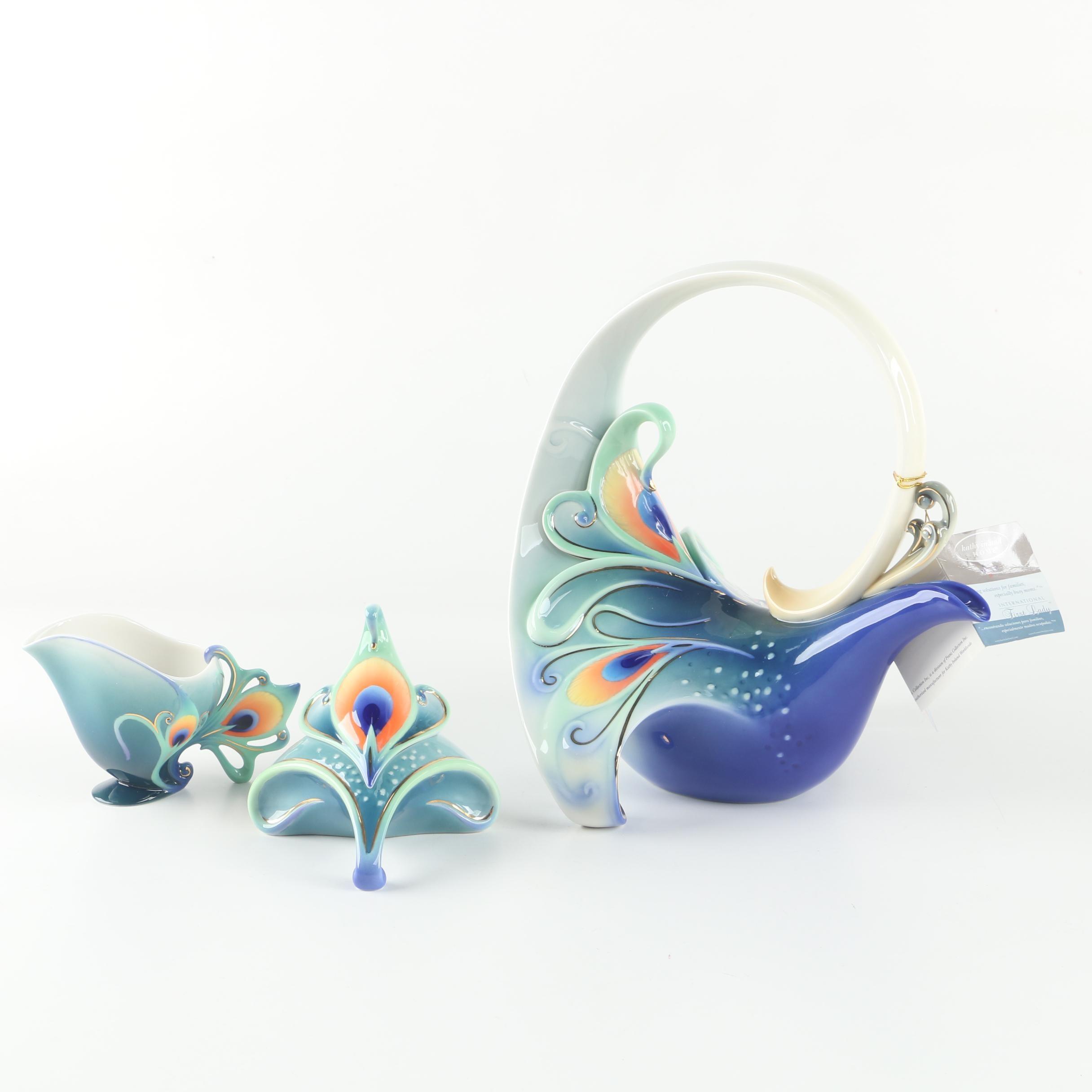 """Franz Collection for Kathy Ireland """"Peacock Splendor"""" Porcelain Tea Service"""