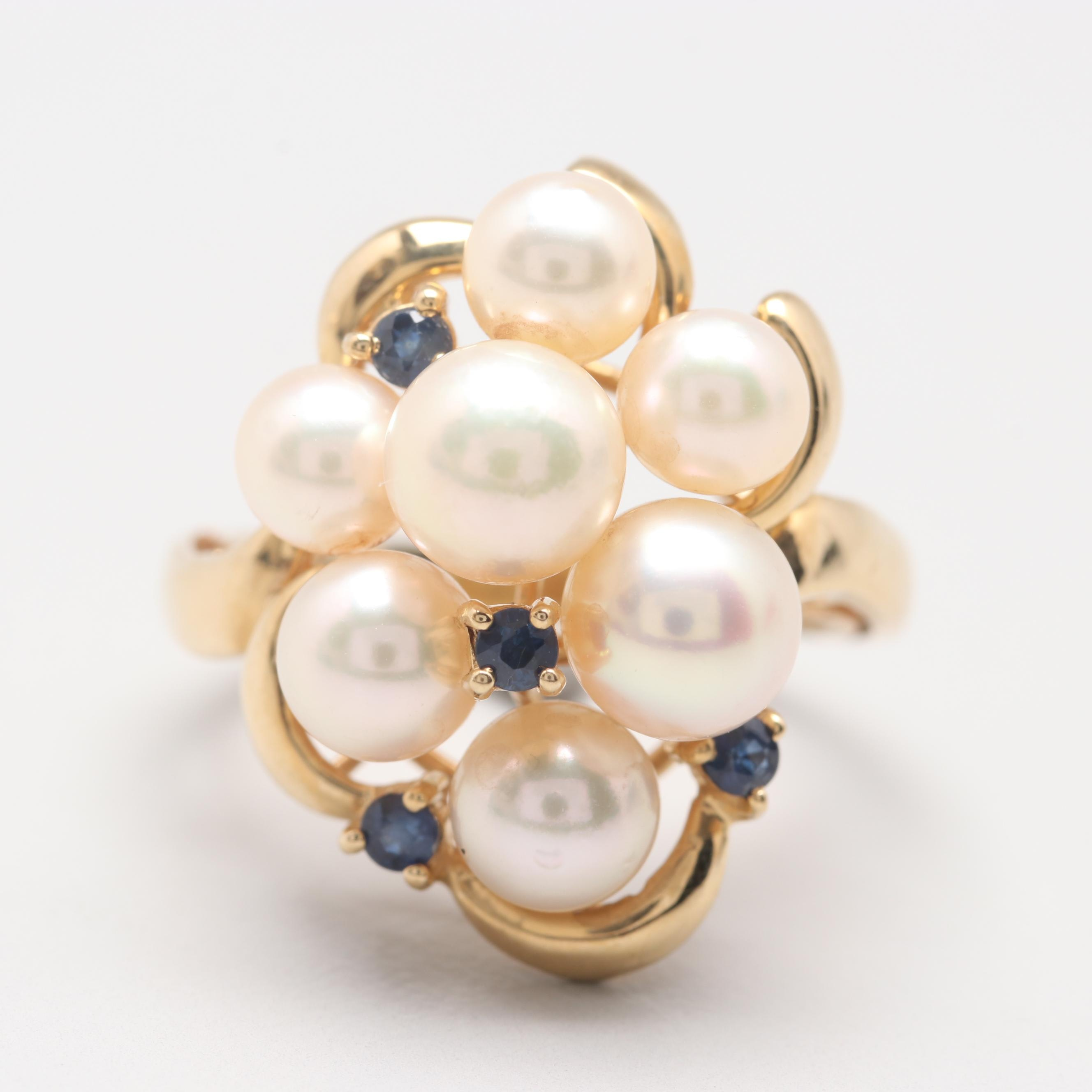 14K Yellow Gold Cultured Pearl and Blue Sapphire Ring
