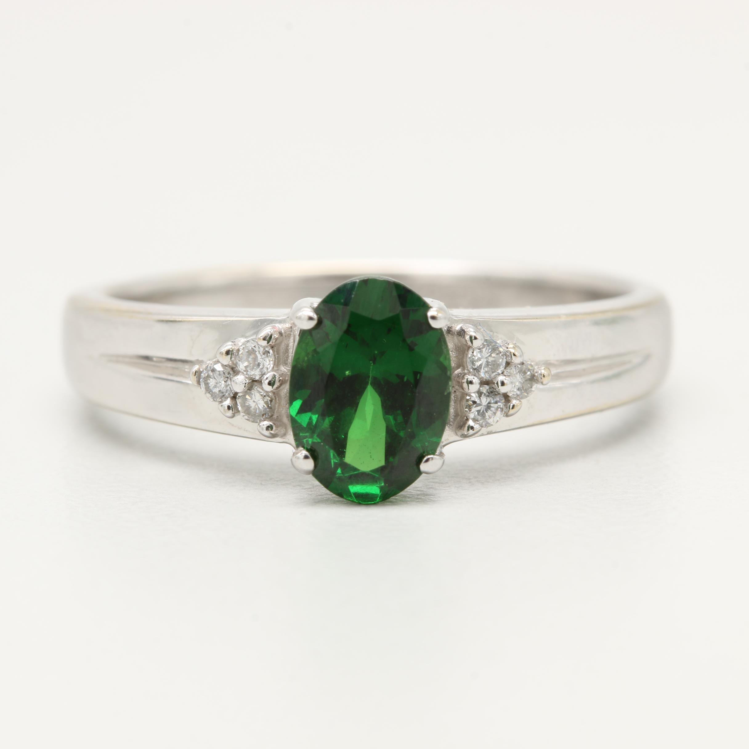 14K White Gold Green Tourmaline and Diamond Ring