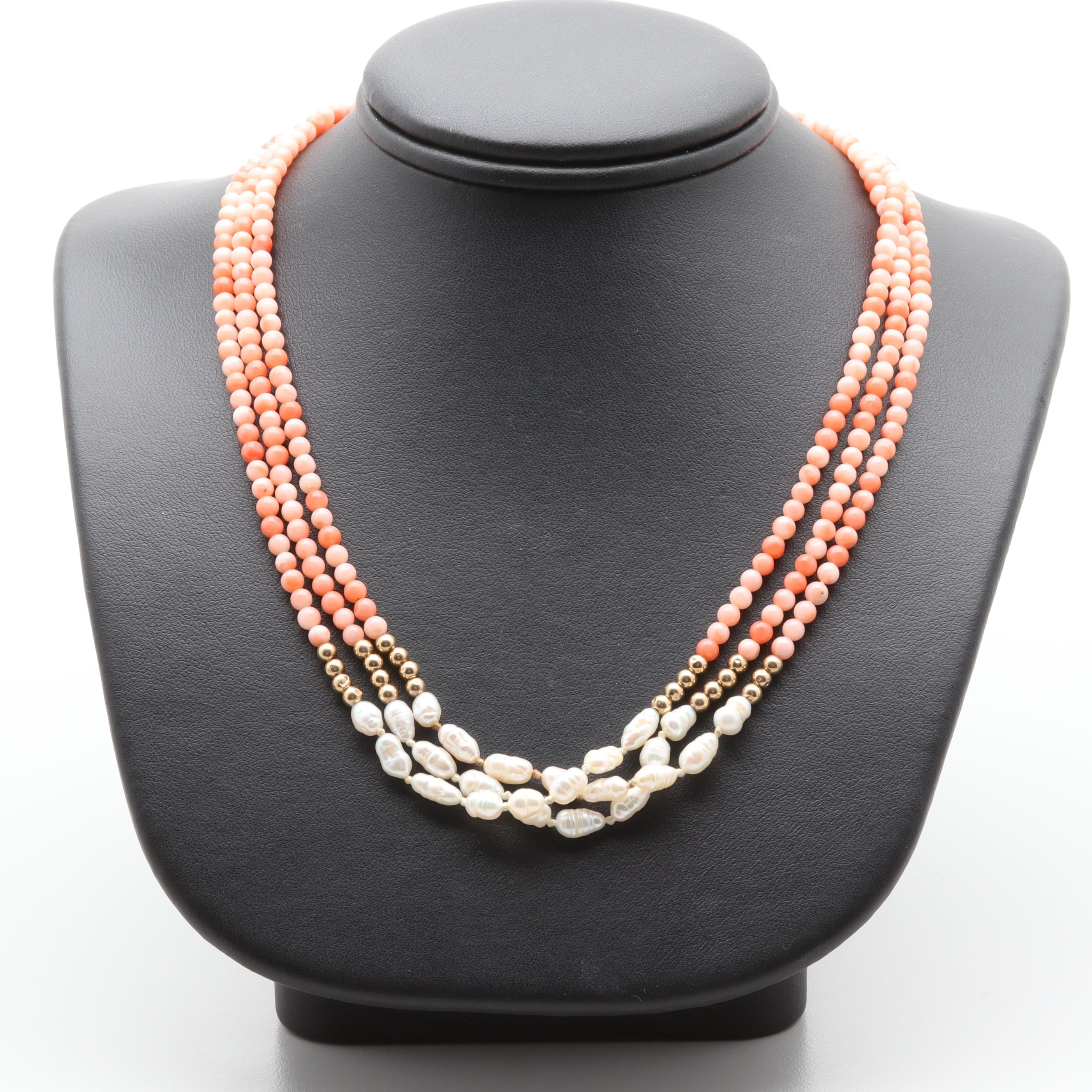 14K Yellow Gold Cultured Pearl and Coral Multi Strand Beaded Necklace