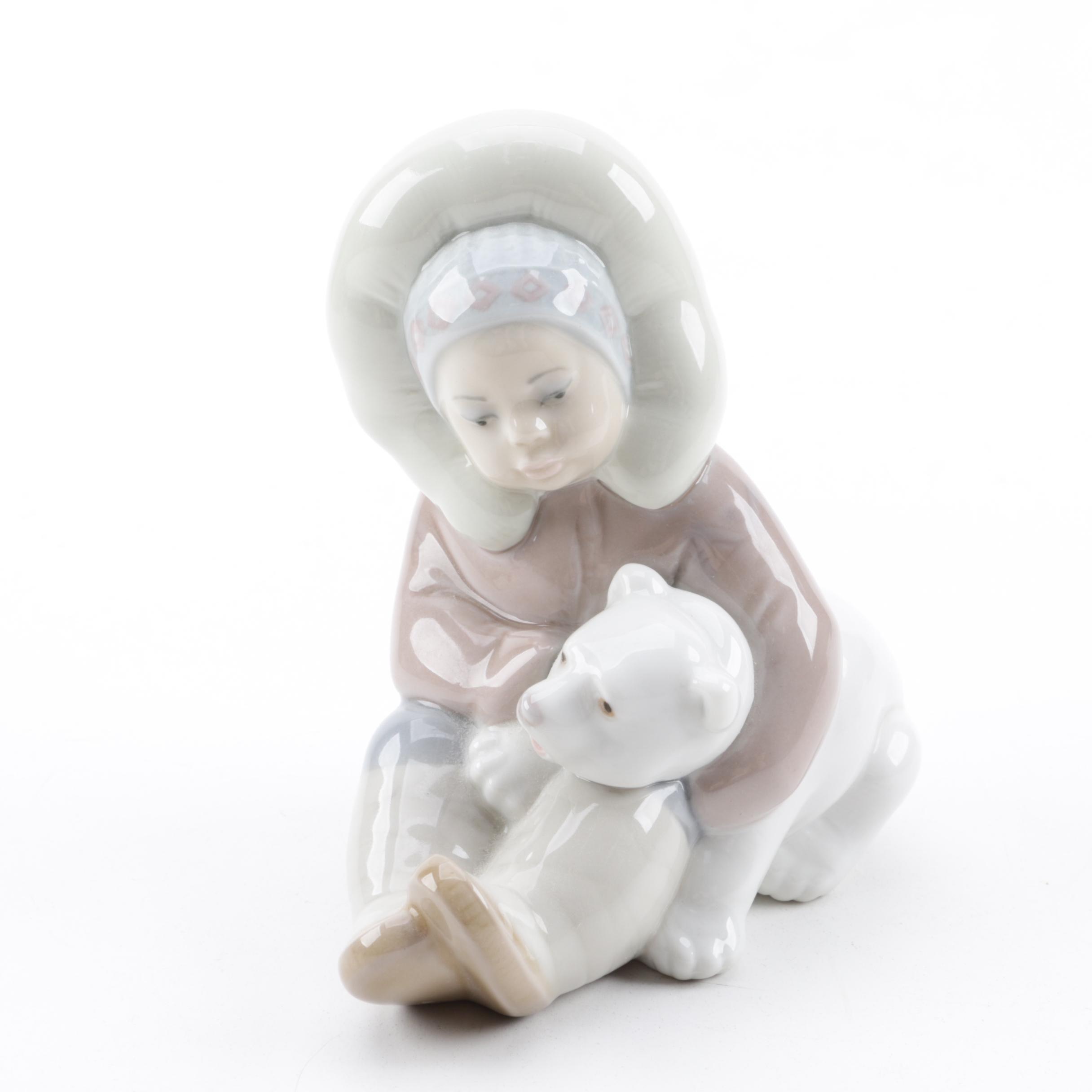 """Lladró """"Eskimo Girl with Polar Bear"""" Porcelain Figurine"""