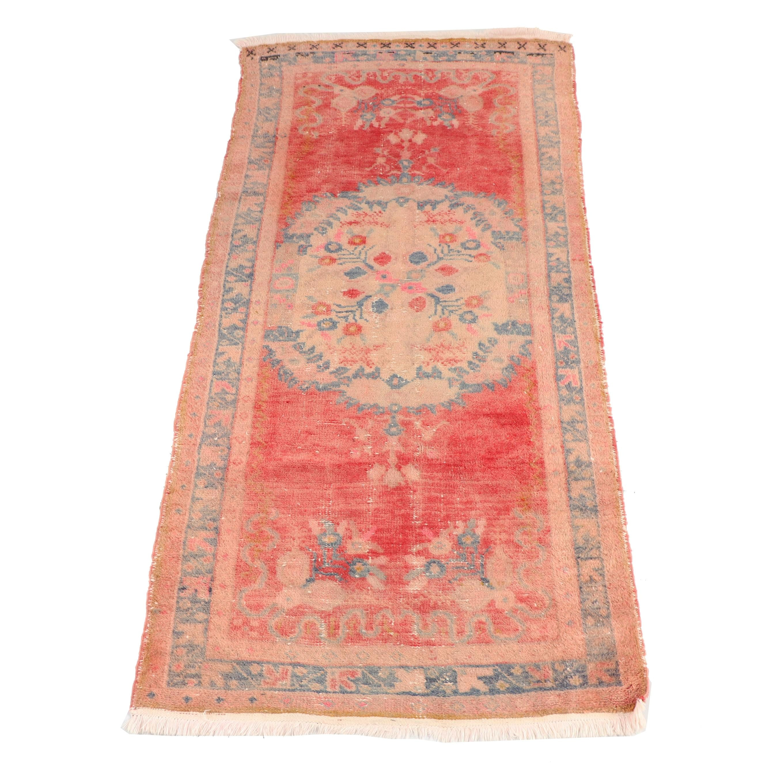 Antique Hand-Knotted Anatolian Wool Long Rug