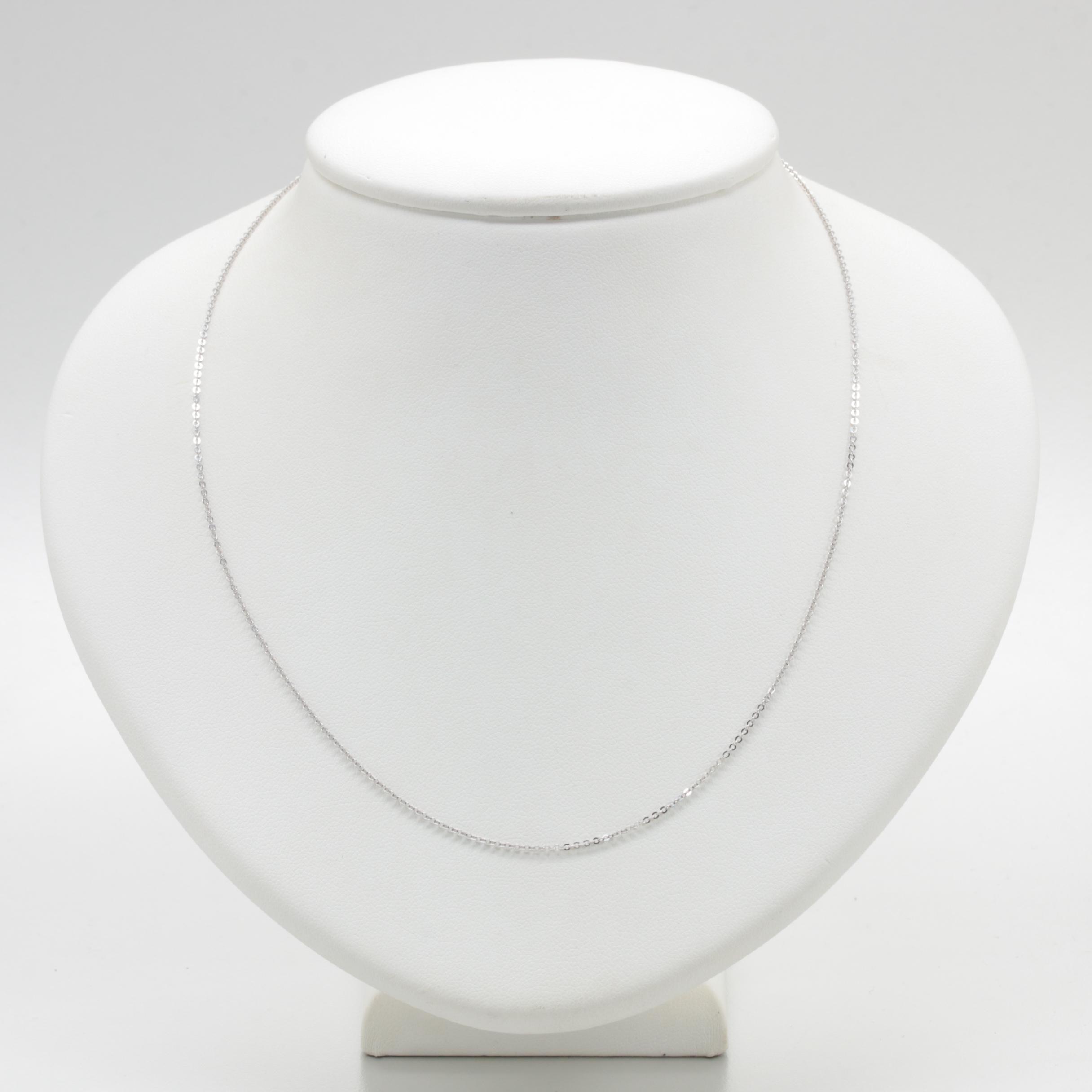 Italian 18K White Gold Rolo Chain Necklace