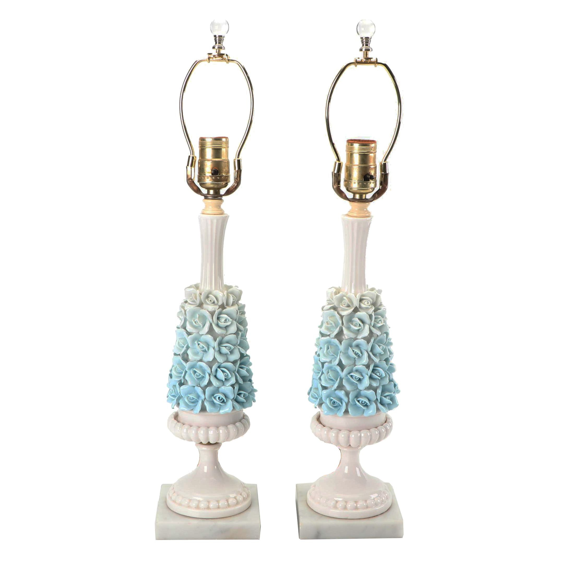 Vintage Capidomonte Style Rose Embellished Porcelain Lamps on Marble Bases