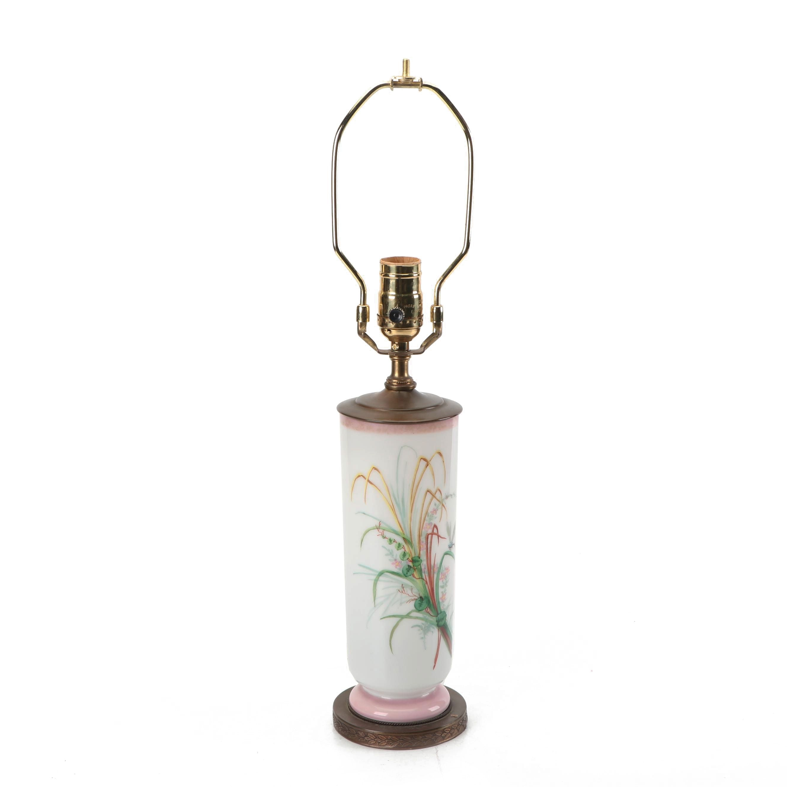 Bristol Style Hand-Painted Glass Table Lamp