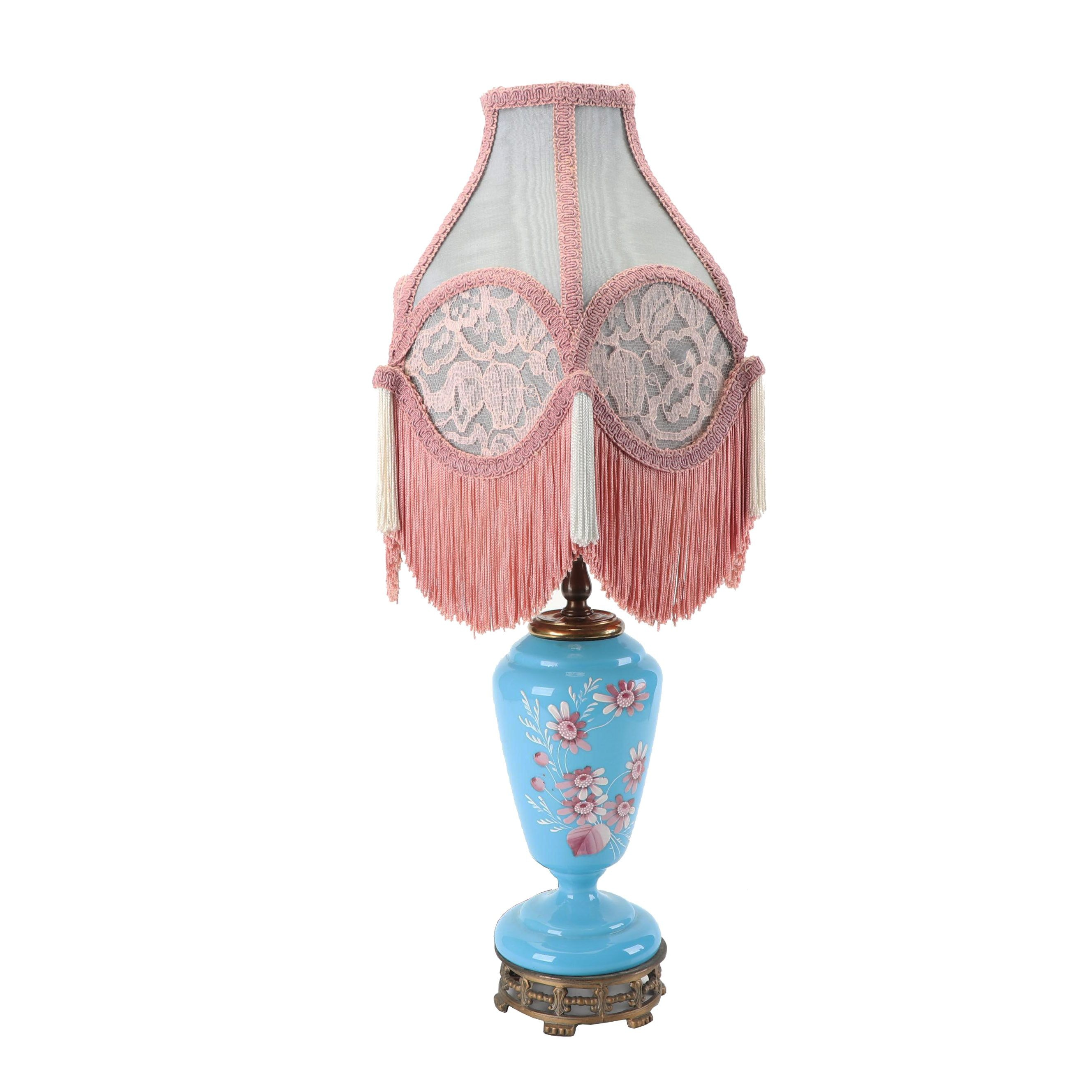 Vintage Hand Painted Blue Milk Glass Table Lamp with Fringed Shade