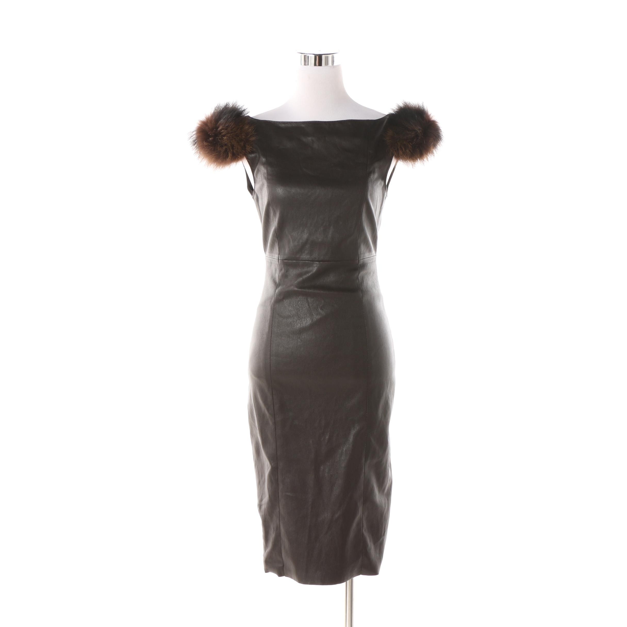 Thomas Wylde Brown Leather Raccoon Fur Trimmed Dress
