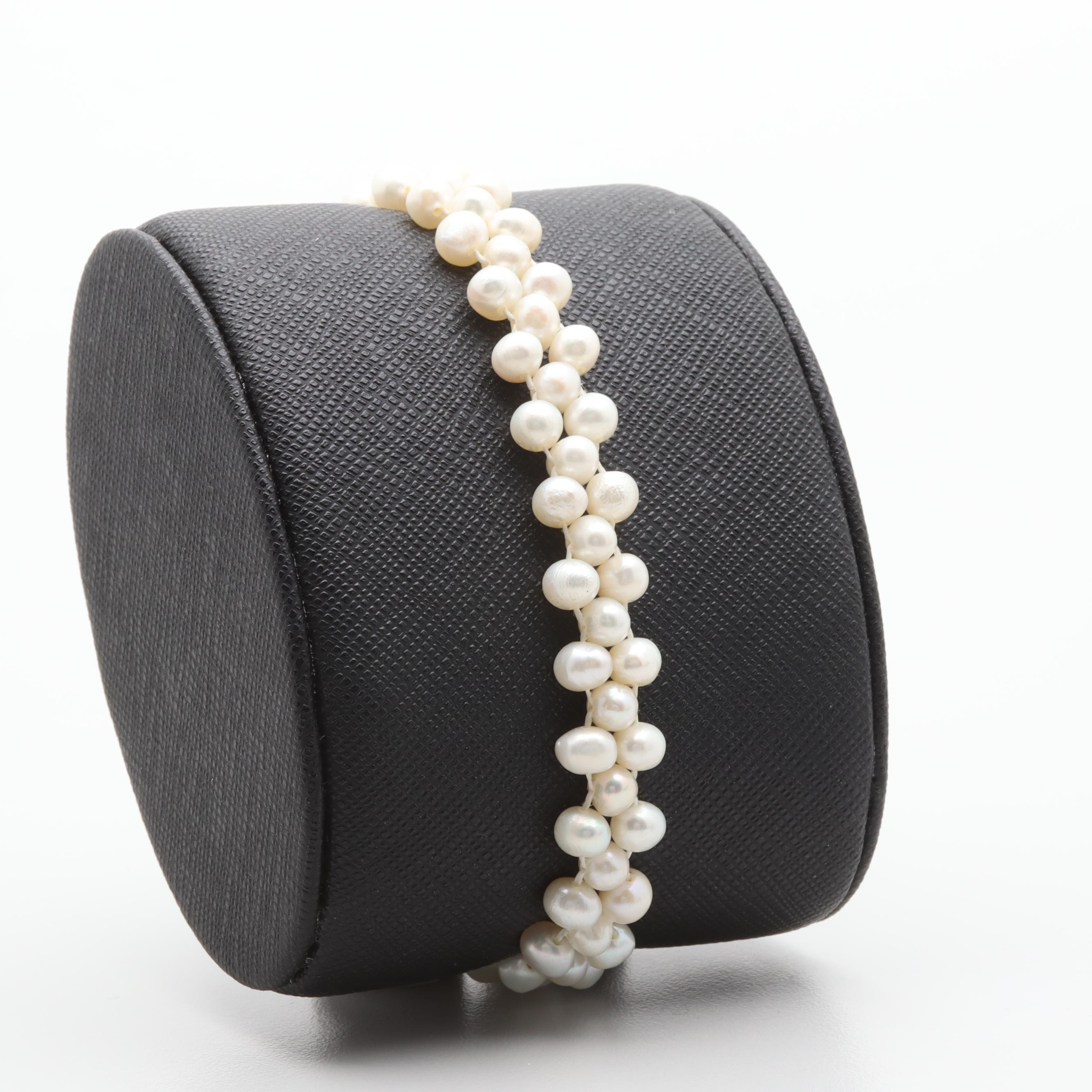 14K Yellow Gold Woven Cultured Pearl Bracelet