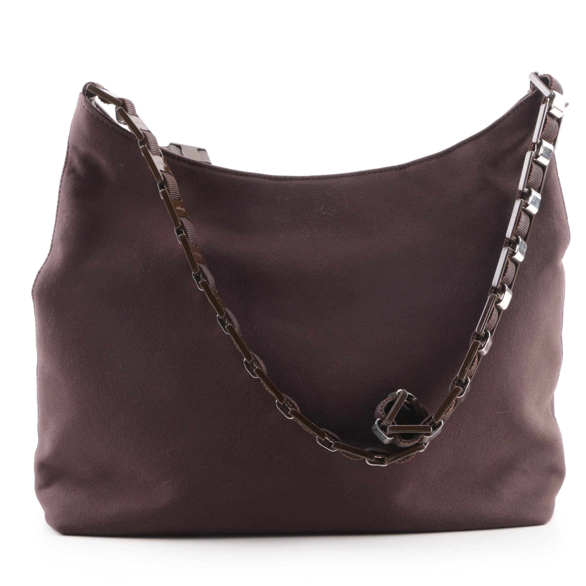 Salvatore Ferragamo Chocolate Brown Nylon Bucket Bag