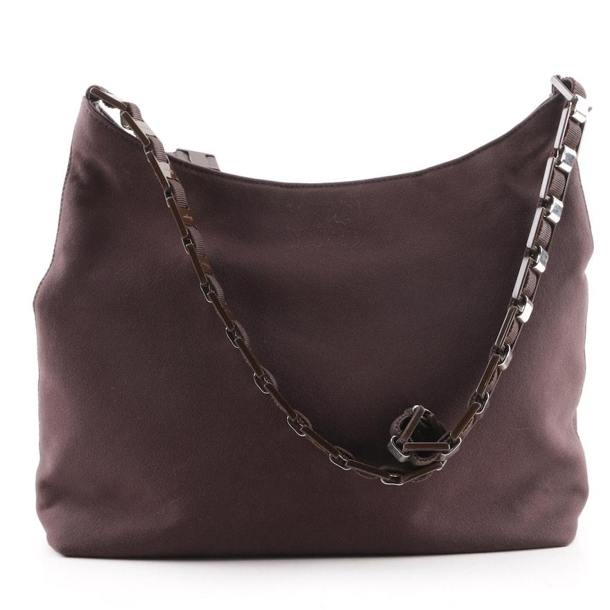 Salvatore Ferragamo Chocolate Brown Nylon Bucket Bag   EBTH 9ce2842086750