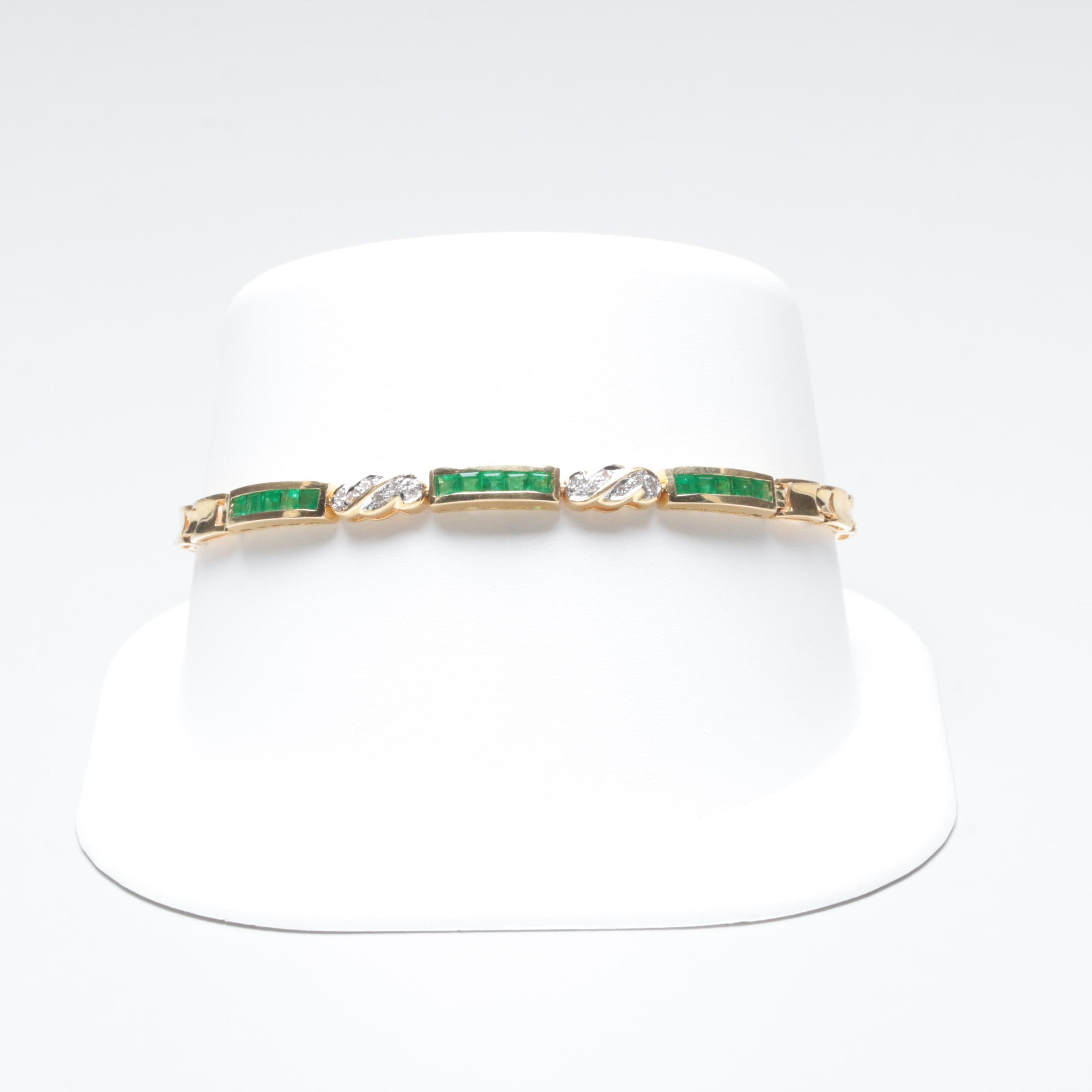 18K Yellow Gold Emerald and Diamond Bracelet
