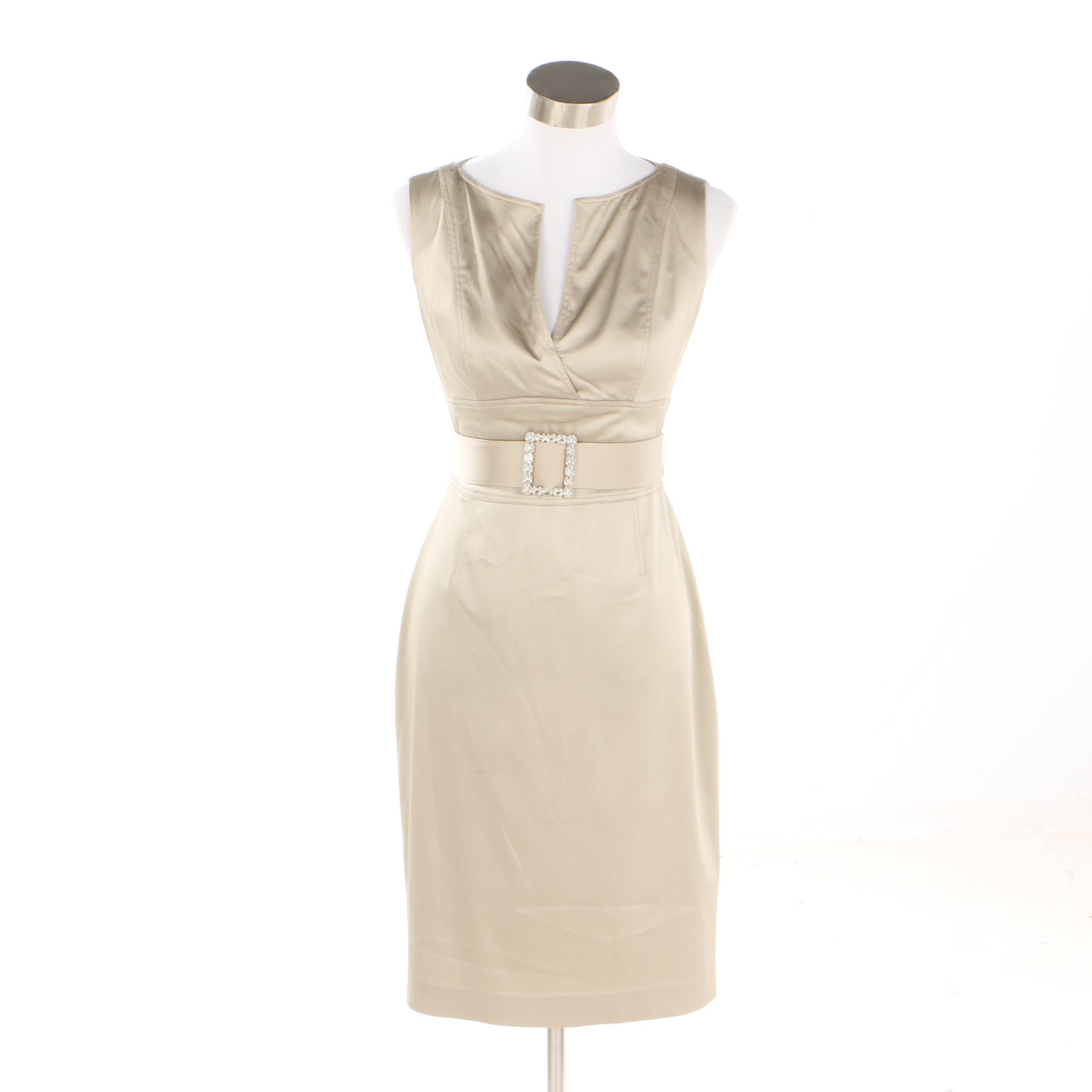 Kay Unger Beige Sleeveless Cocktail Dress