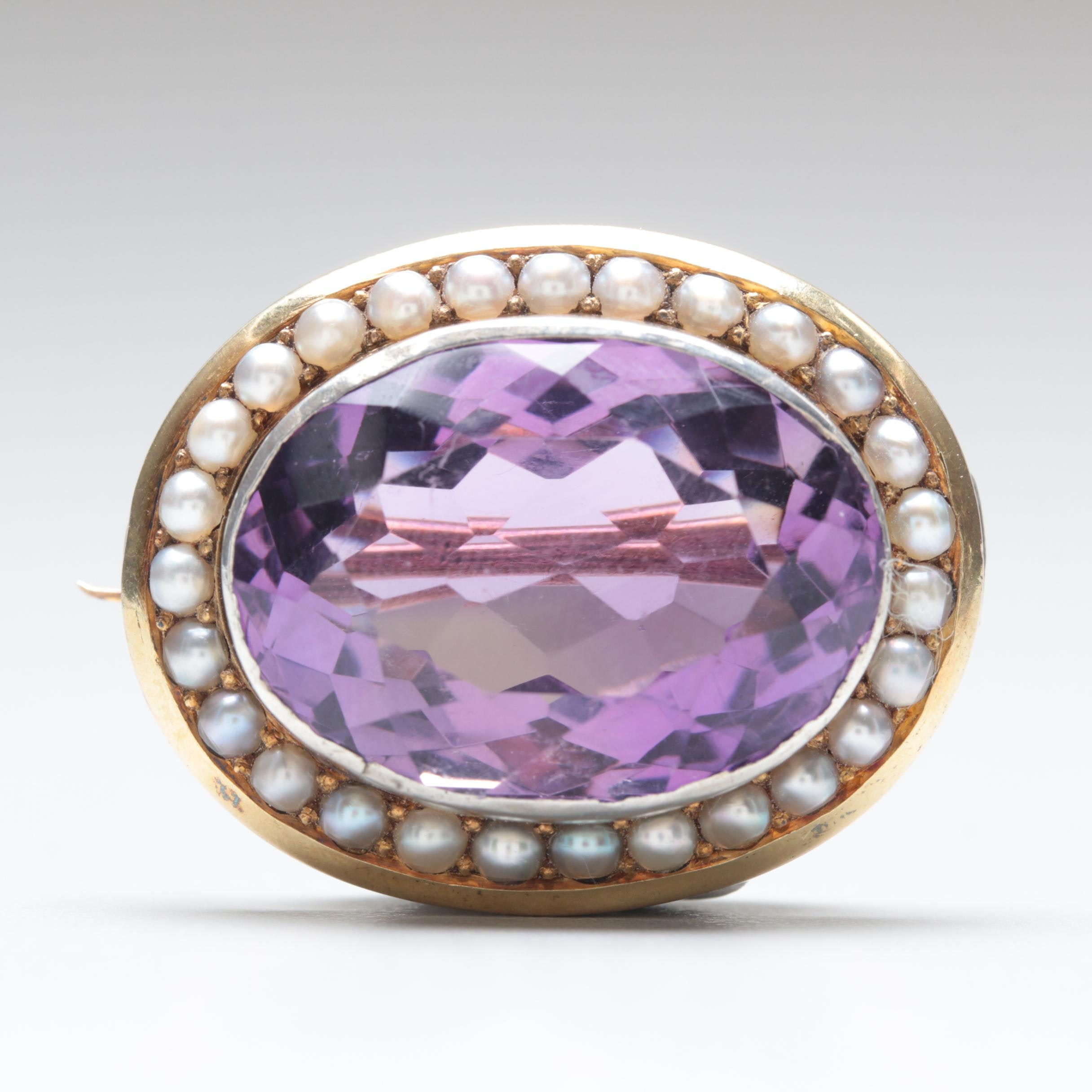 14K Yellow Gold 23.35 CT Amethyst and Seed Pearl Brooch