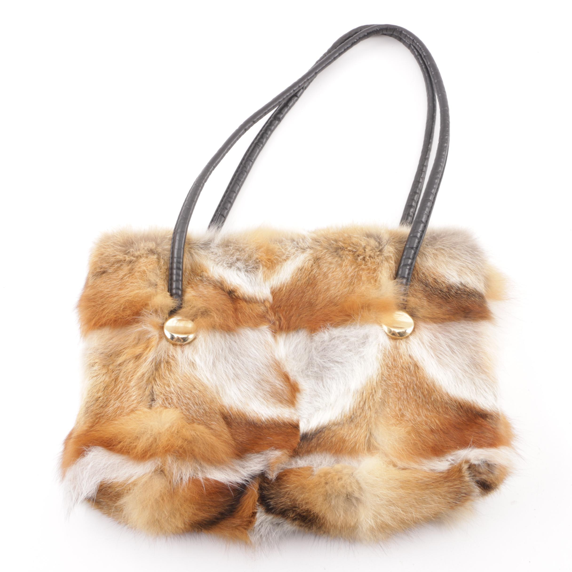 Patchwork Fox Fur Shoulder Bag with Rolled Leather Handles