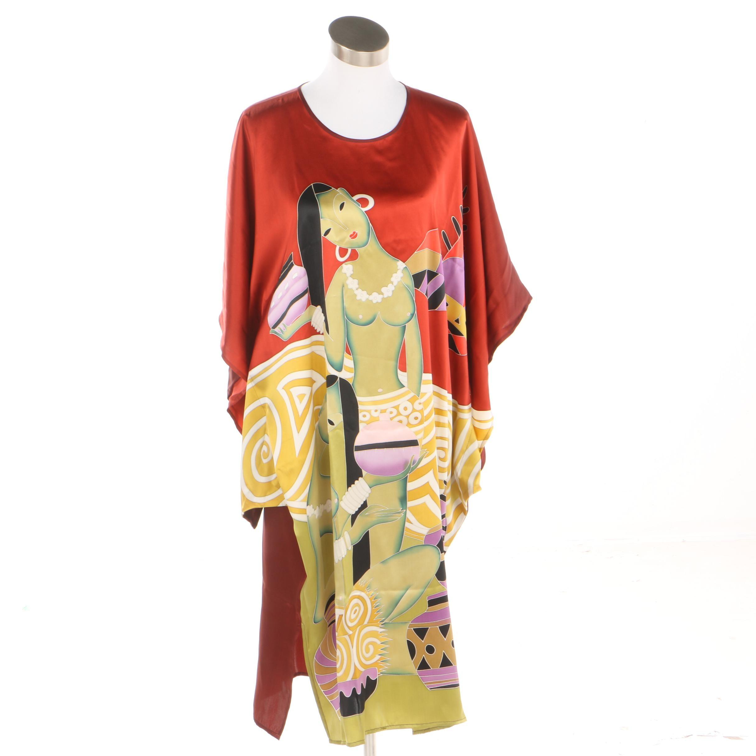 Women's Hand Silk Painting Caftan