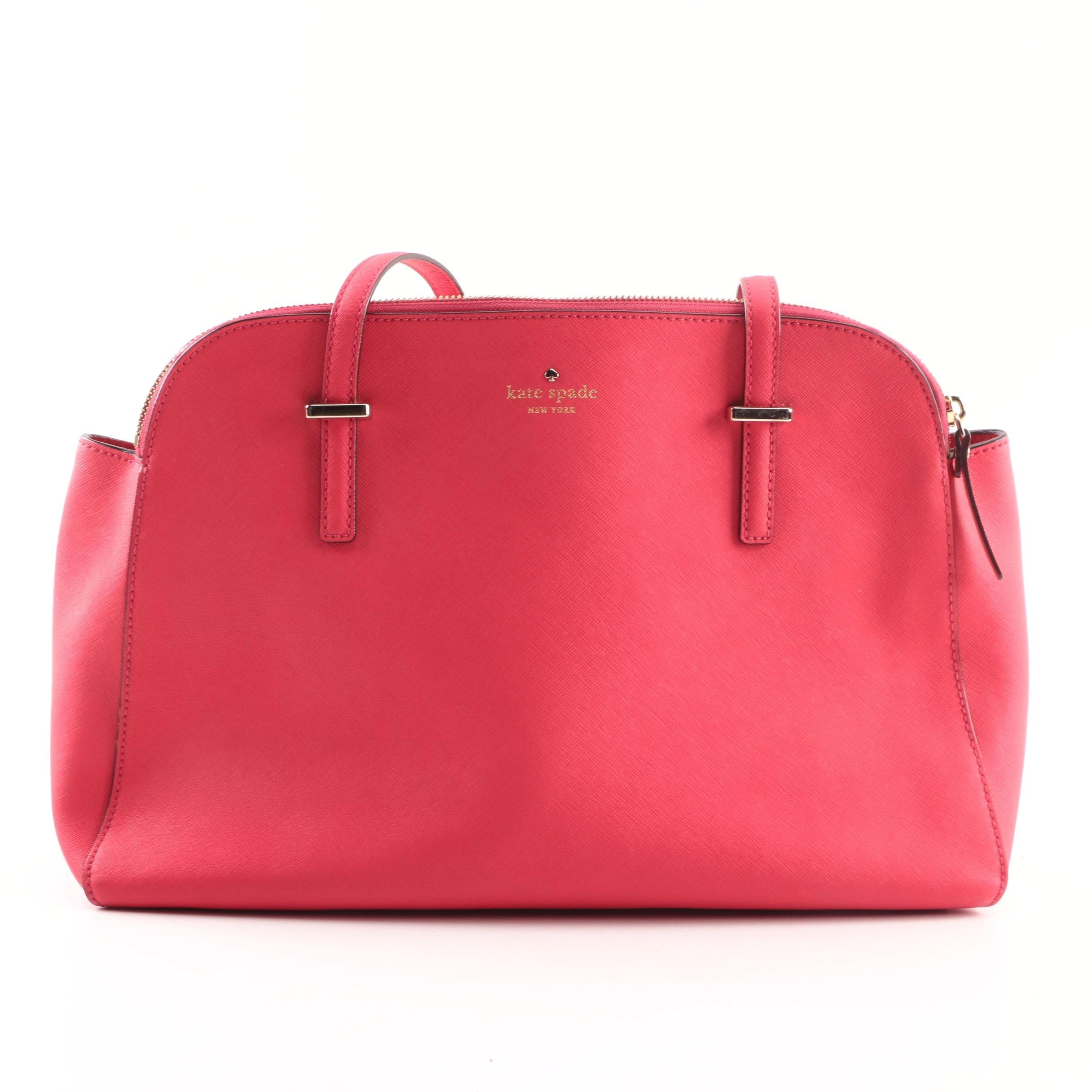 Kate Spade New York East-West Pink Crossgrain Leather Shoulder Bag