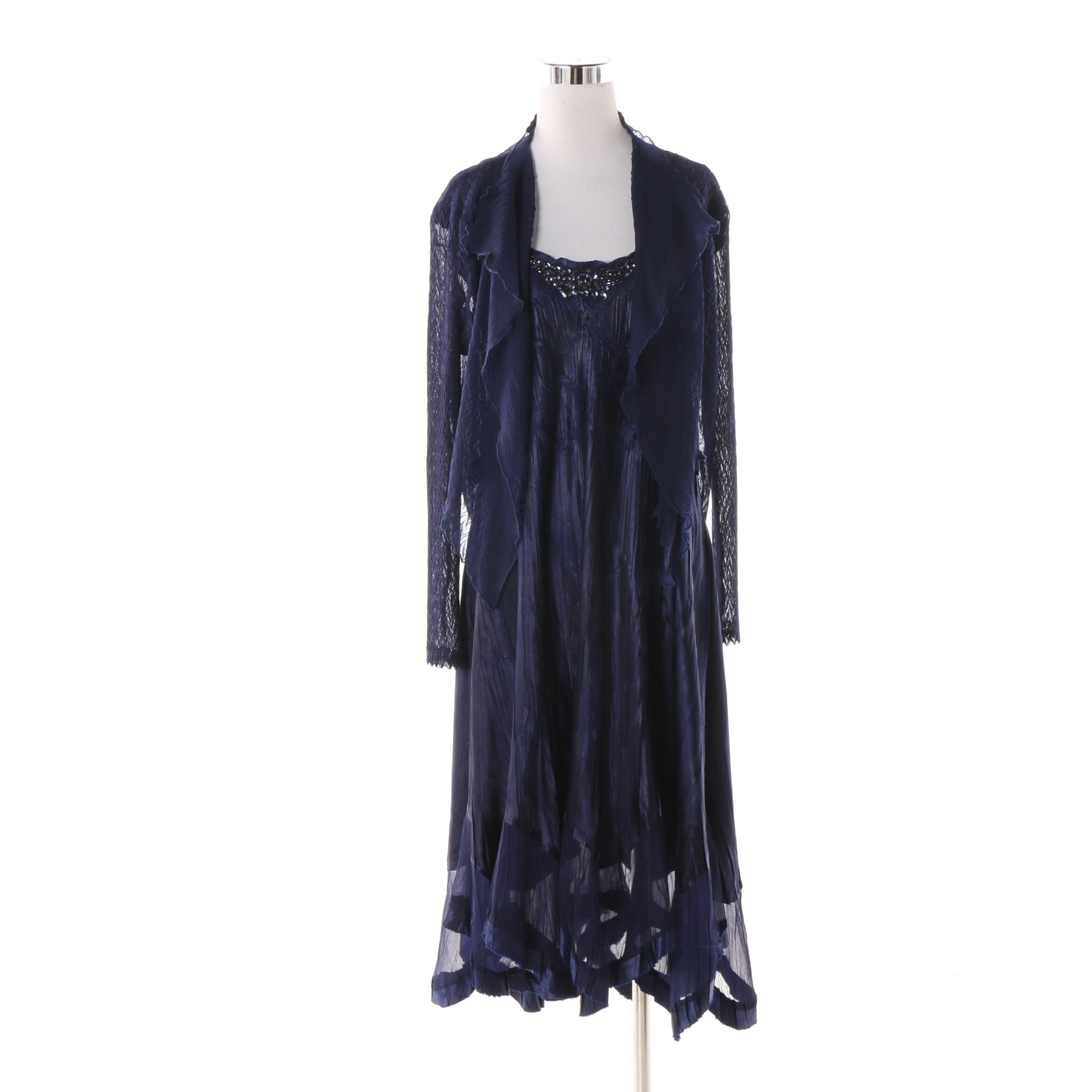 Komarov Blue Dress with Matching Shrug featuring Sheer Handkerchief Hem