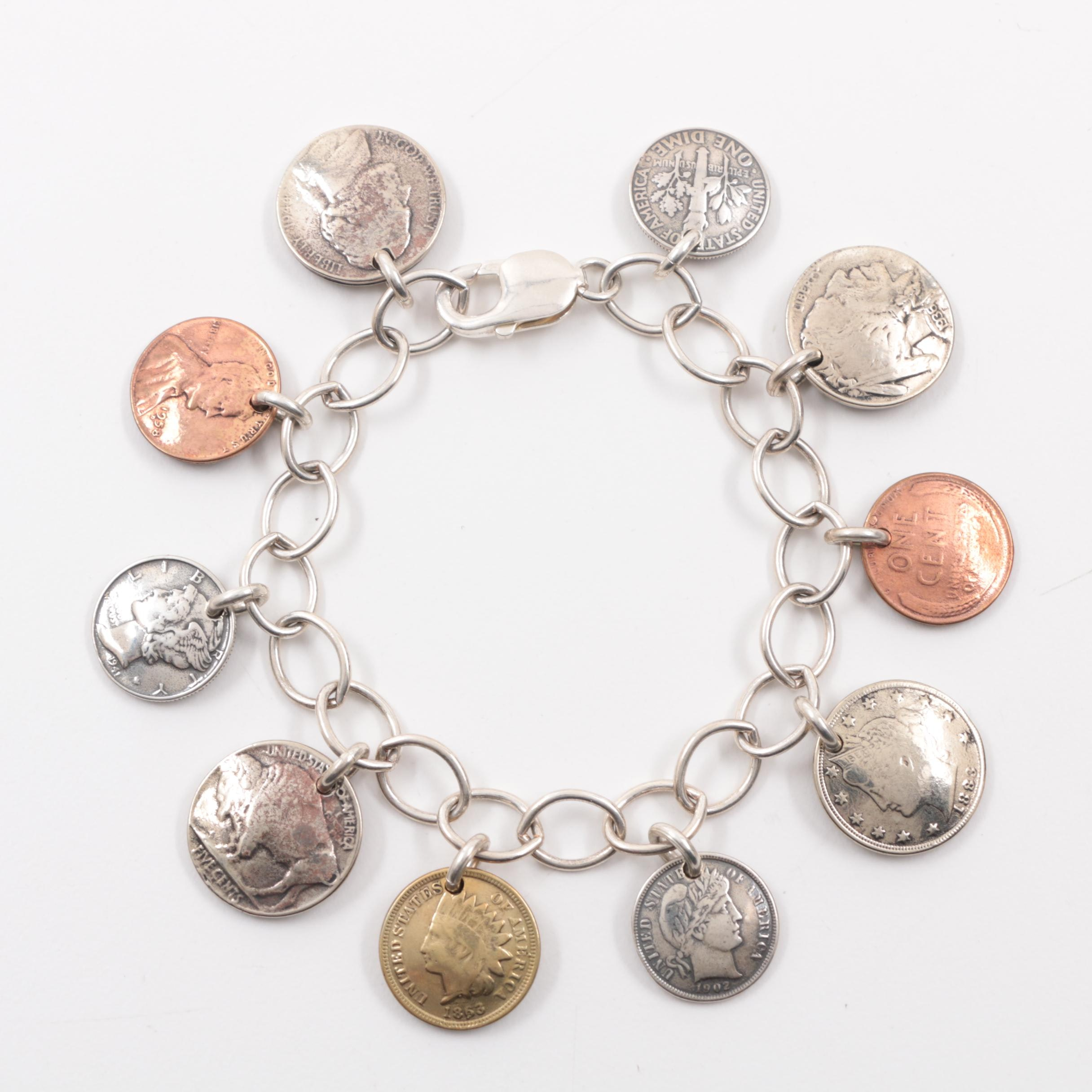 Sterling Silver Coin Themed Charm Bracelet