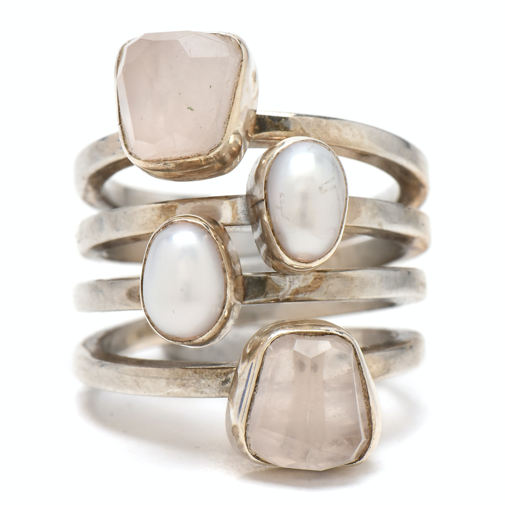 Lilly Barrack Sterling Silver Rose Quartz and Cultured Pearl Ring