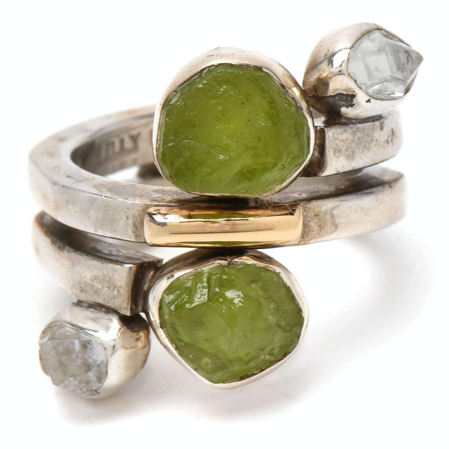 Lilly Barrack Sterling Silver Ring with Peridot and Quartz Stones