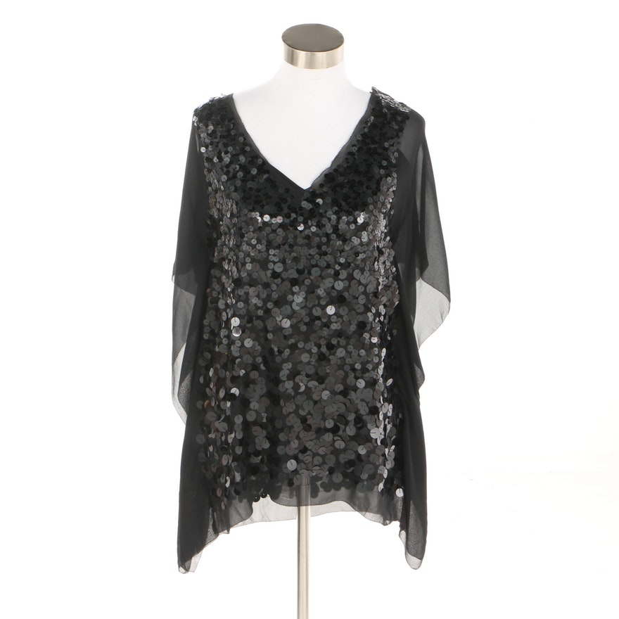 ba83133cf7d5 BCBG Max Azria Black Sequin Silk Blouse : EBTH