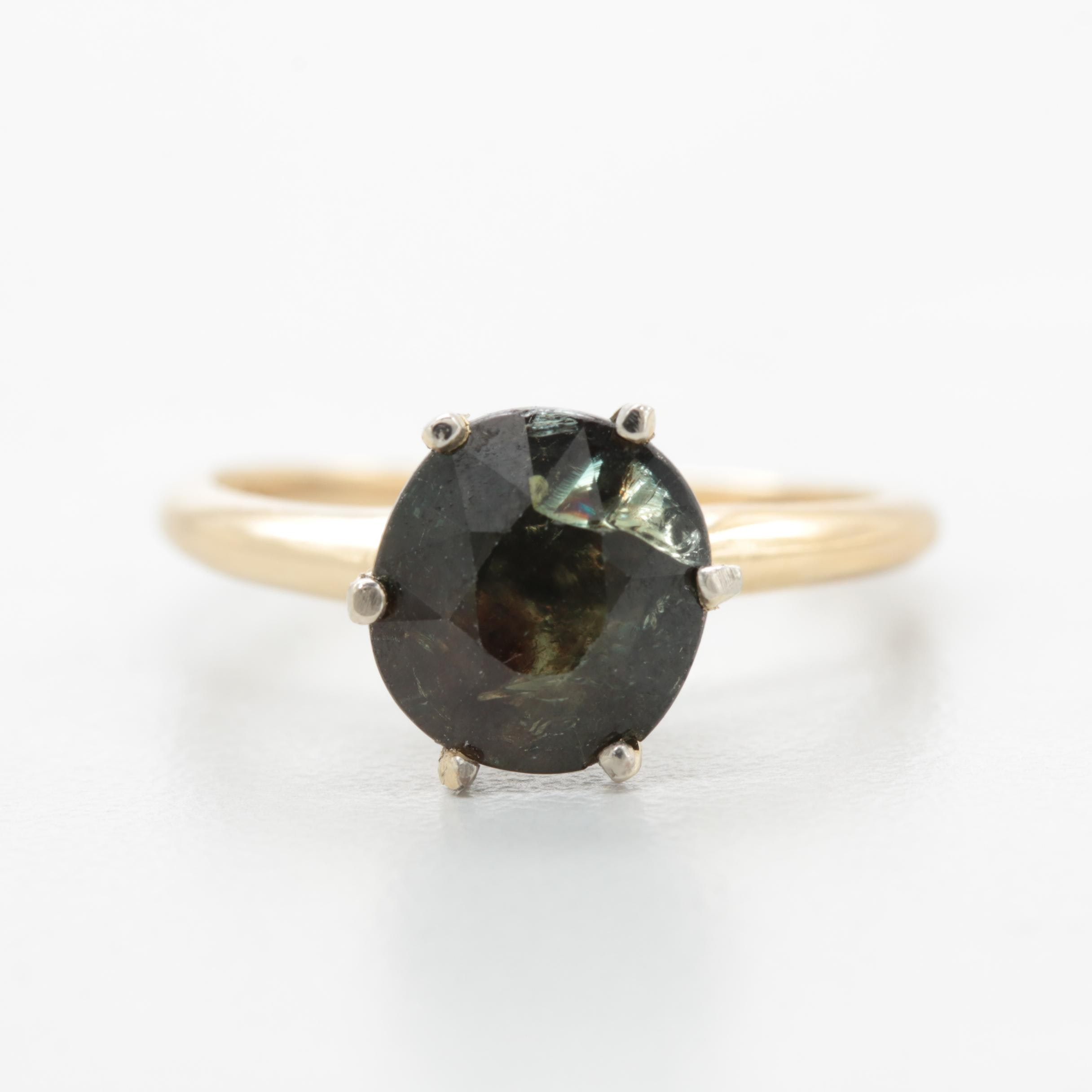 14K Yellow and White Gold 2.58 CT Color Shift Sapphire Ring