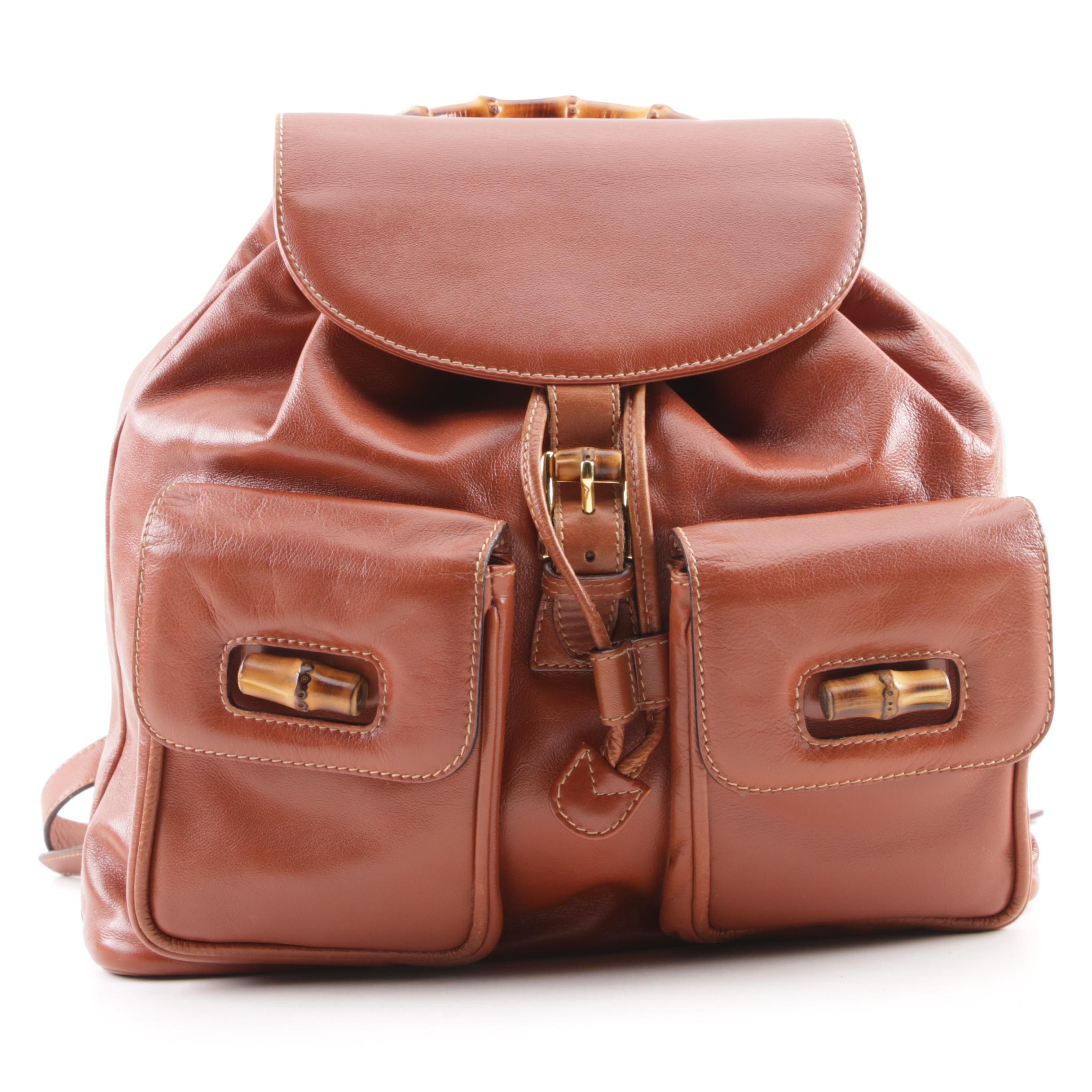 Gucci Cognac Leather Bamboo Backpack