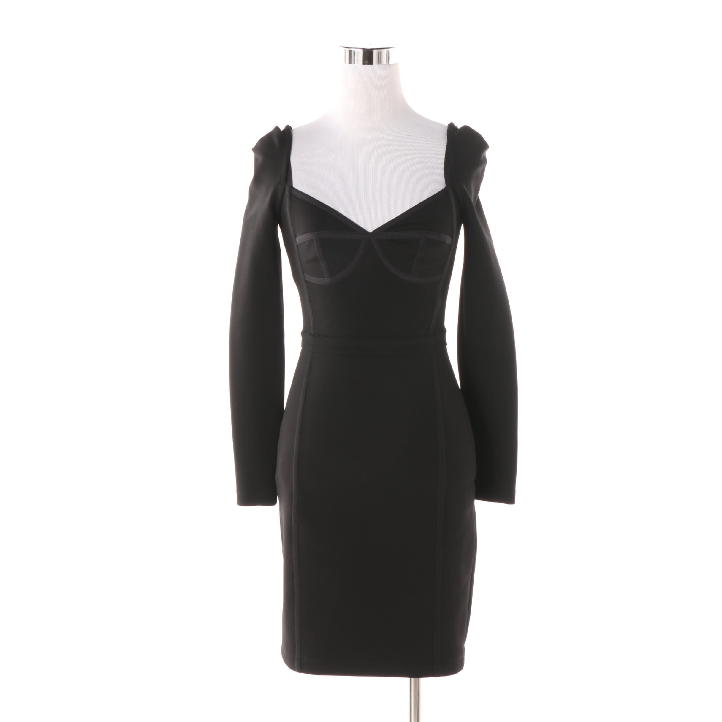 T by Alexander Wang Black Corset Bodycon Dress
